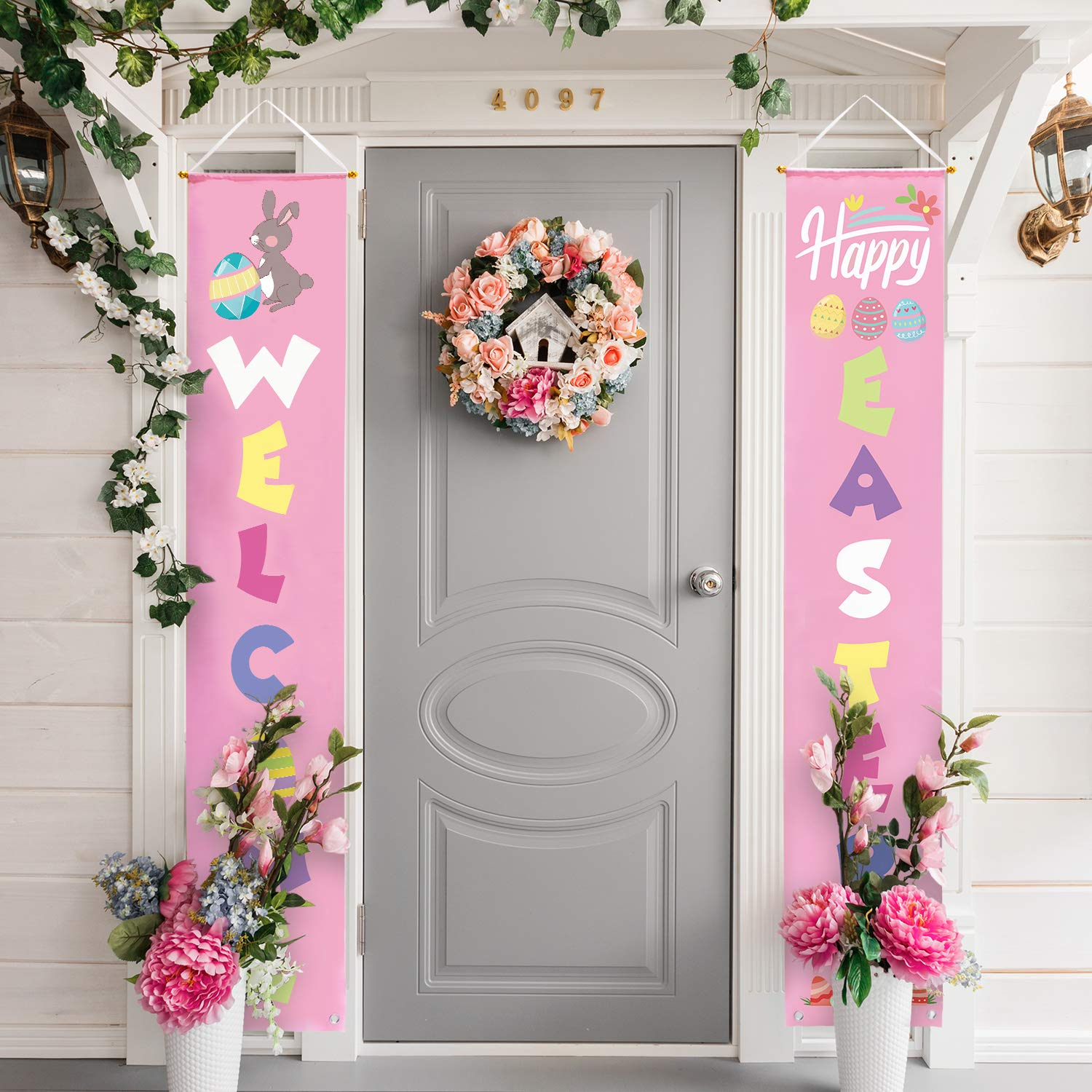 hanging easter signs on front porch grey door