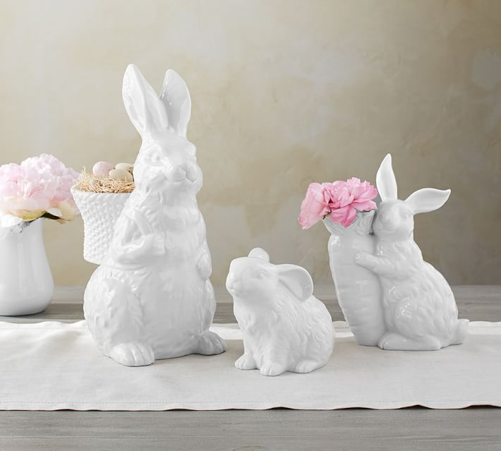 garden bunny set with pink flowers and eggs
