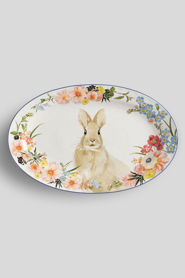 bunny floral serving plate