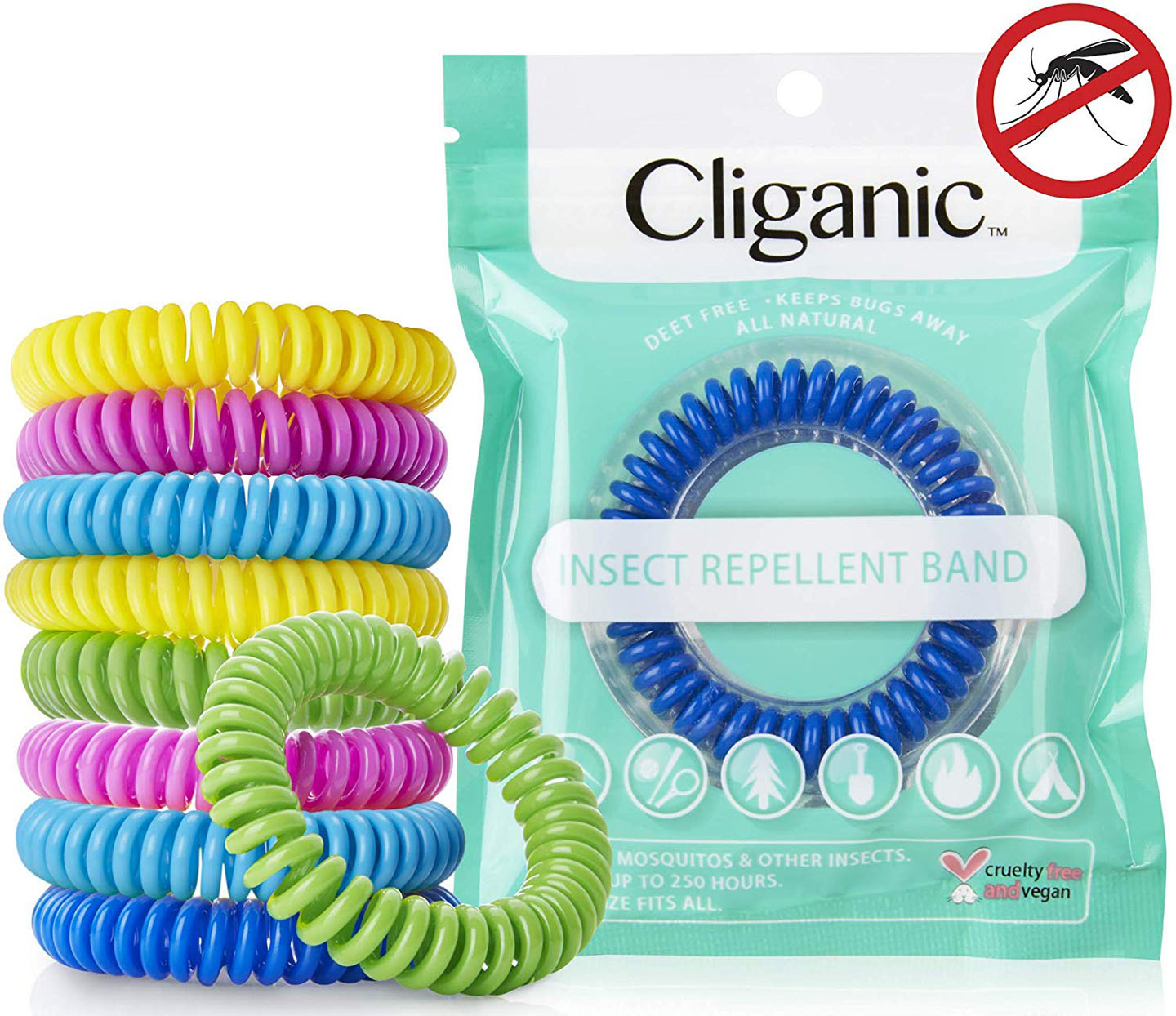 Turquoise packet with coiled plastic mosquito-repelling bracelets in blue, turquoise, yellow, lime green and hot pink