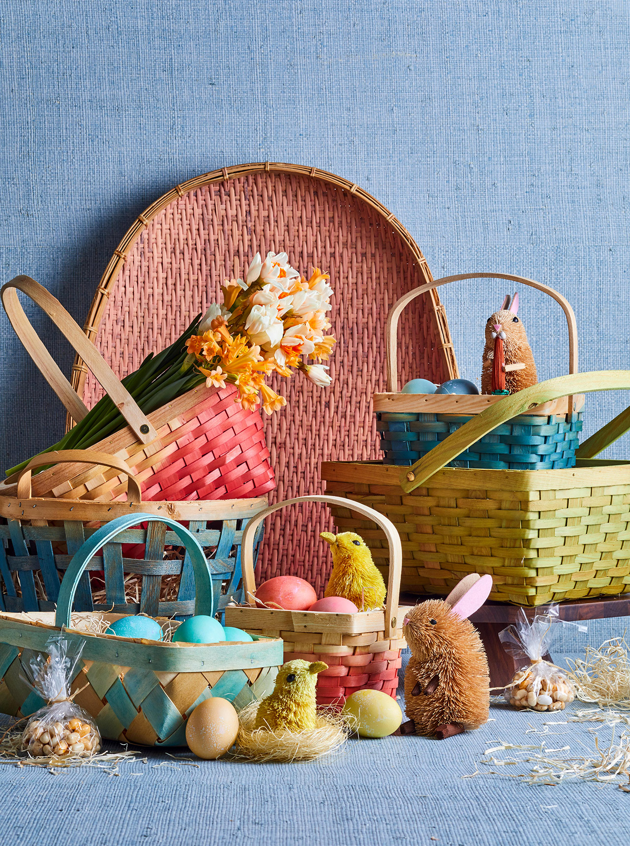 rainbow dye-dipped baskets and flowers