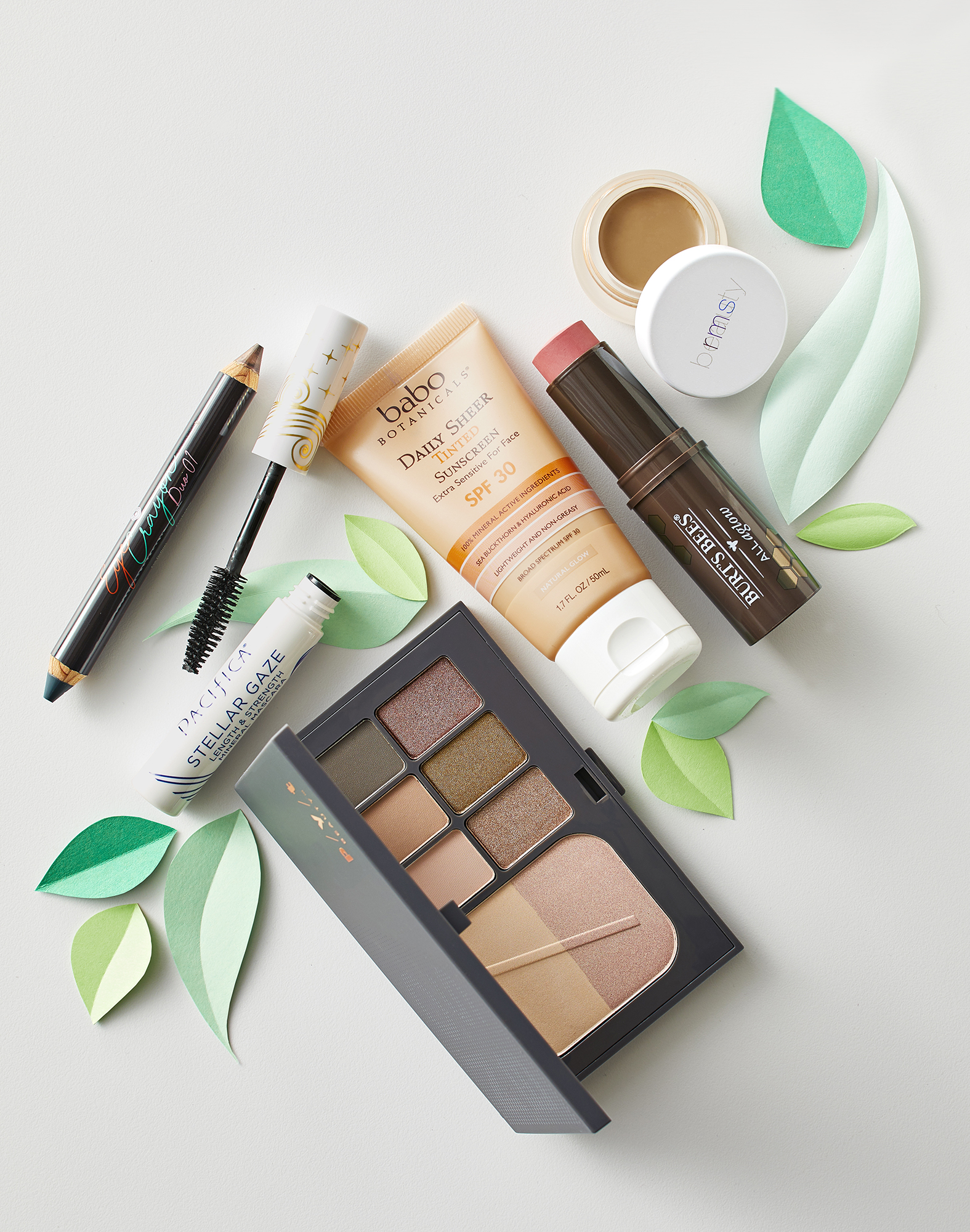 organic and clean makeup products on a table
