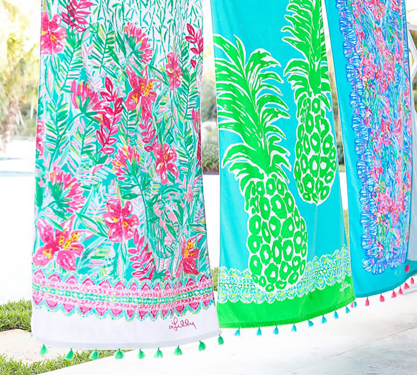 tropical towels hung outside