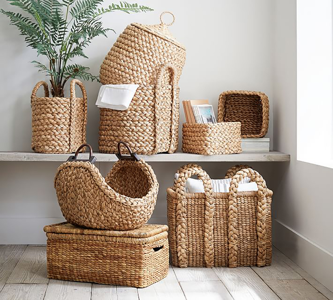pile of woven baskets