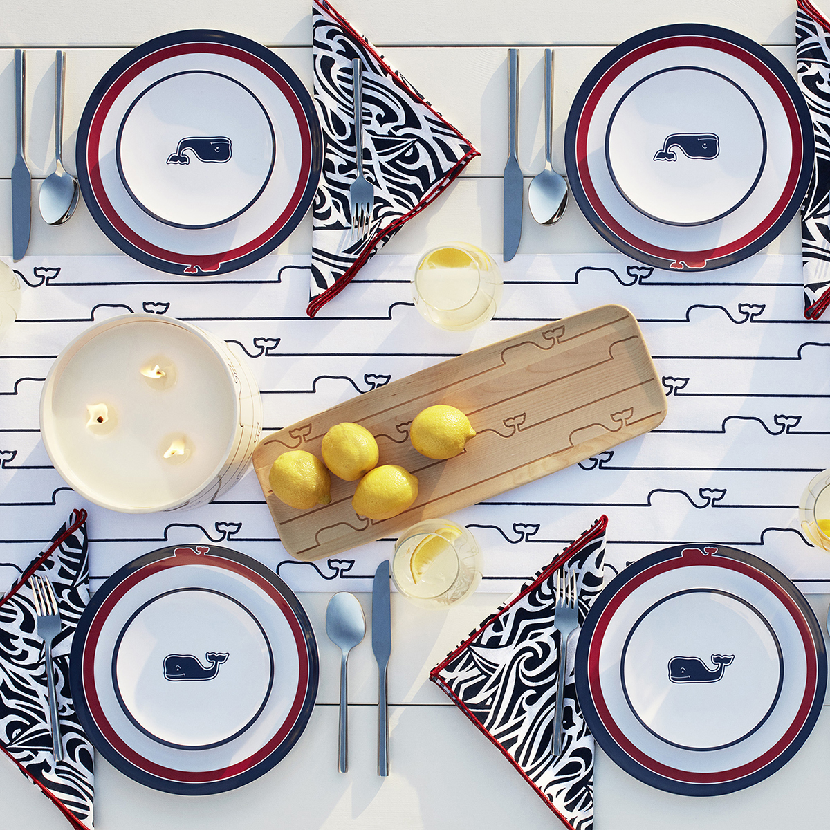 table set with whale logo