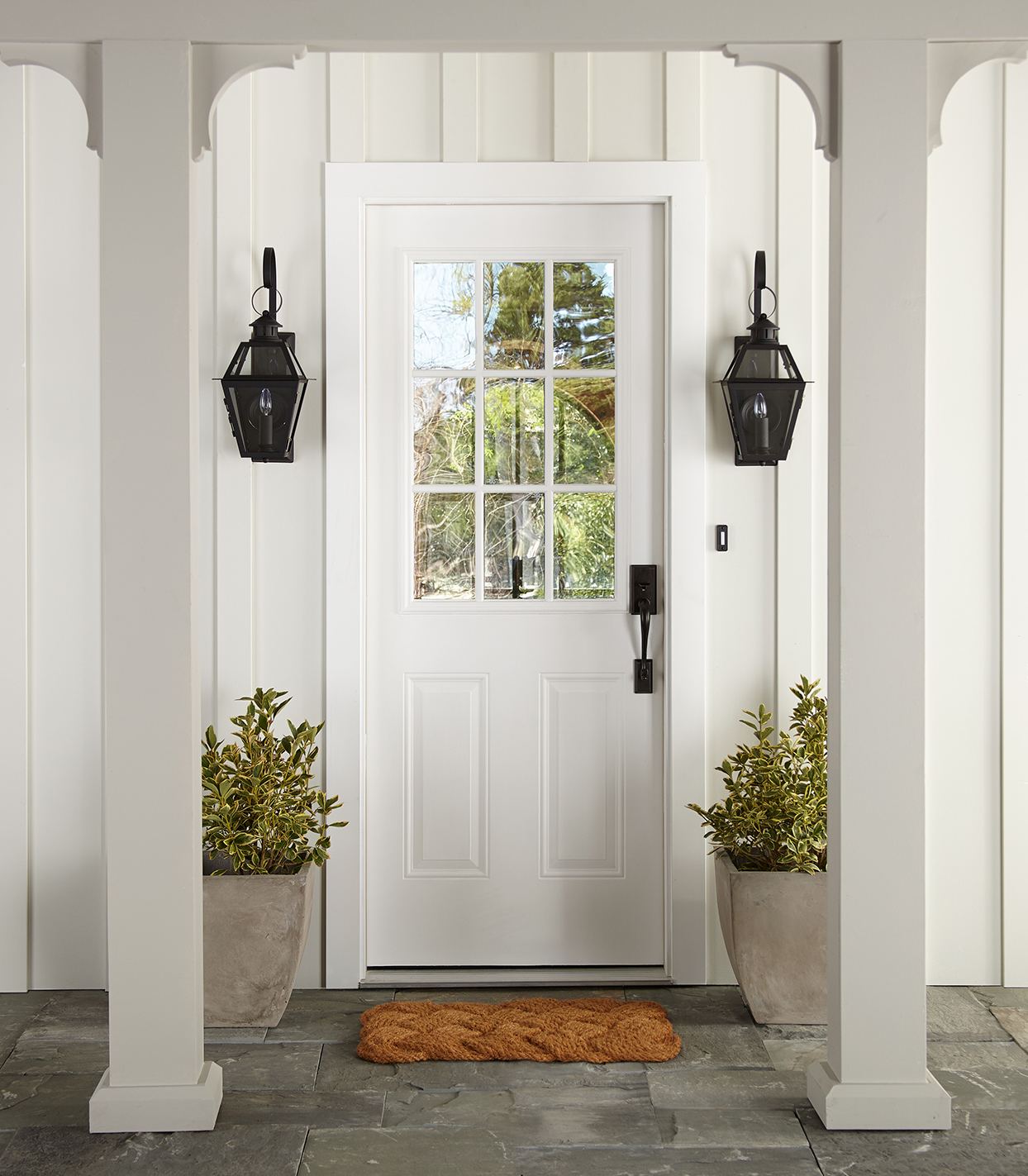 joanna gaines exterior paint white entryway