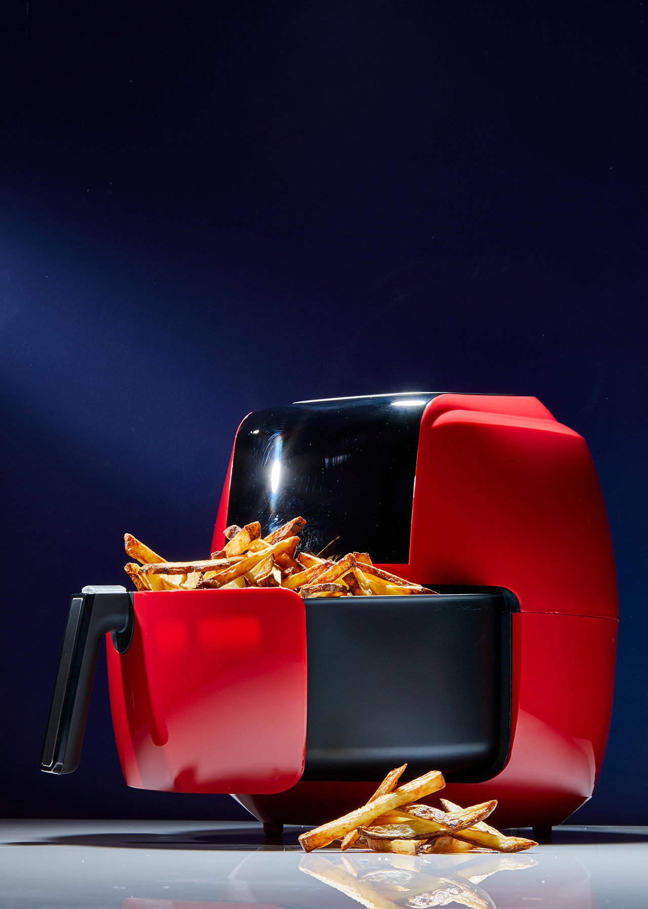 Red Digital Air Fryer with French Fries