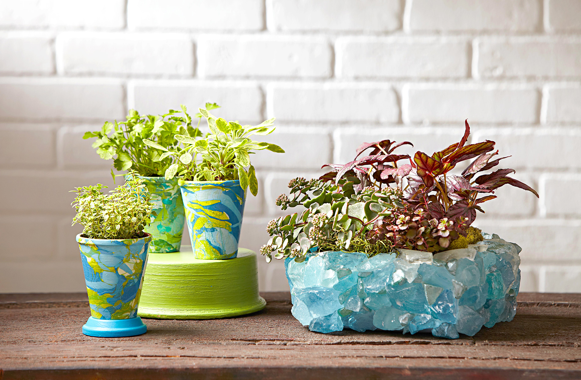 painted terra cotta and diy planters