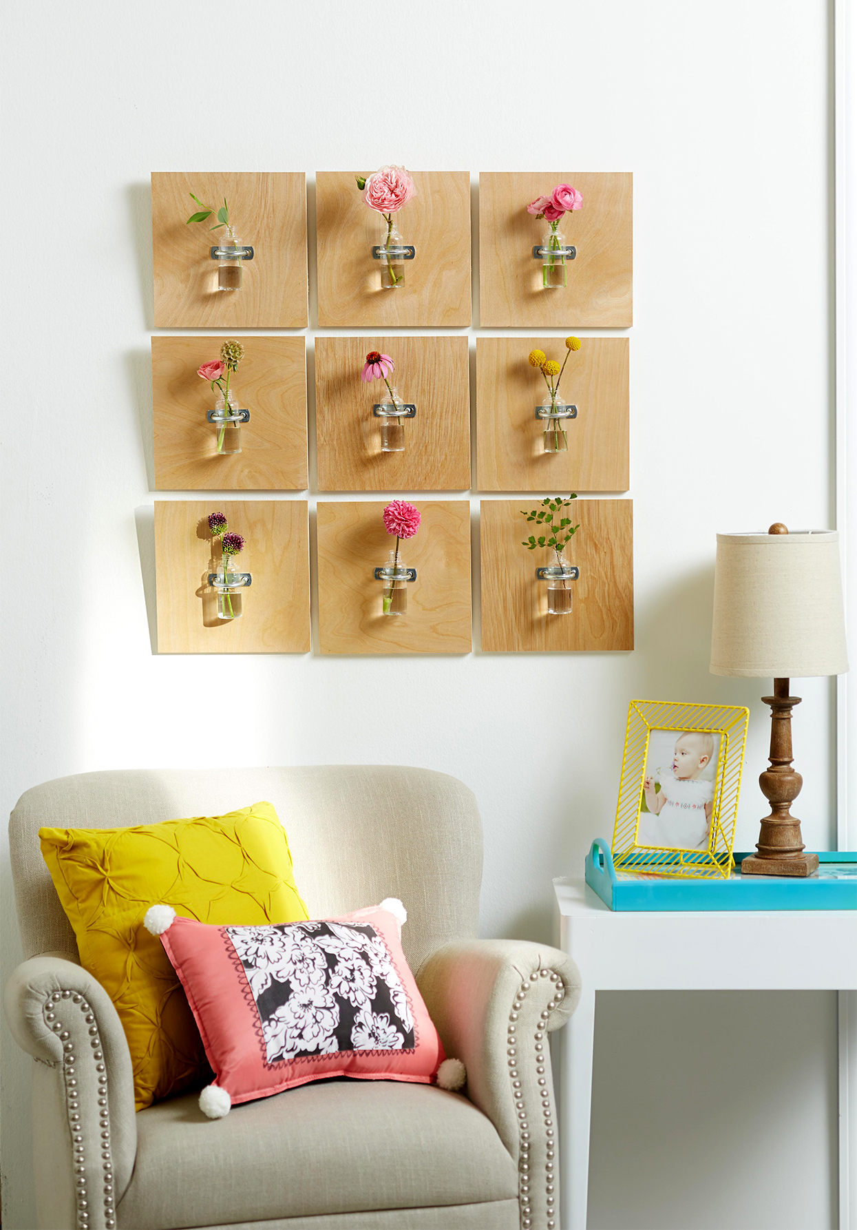 plywood grid with bud vases decor