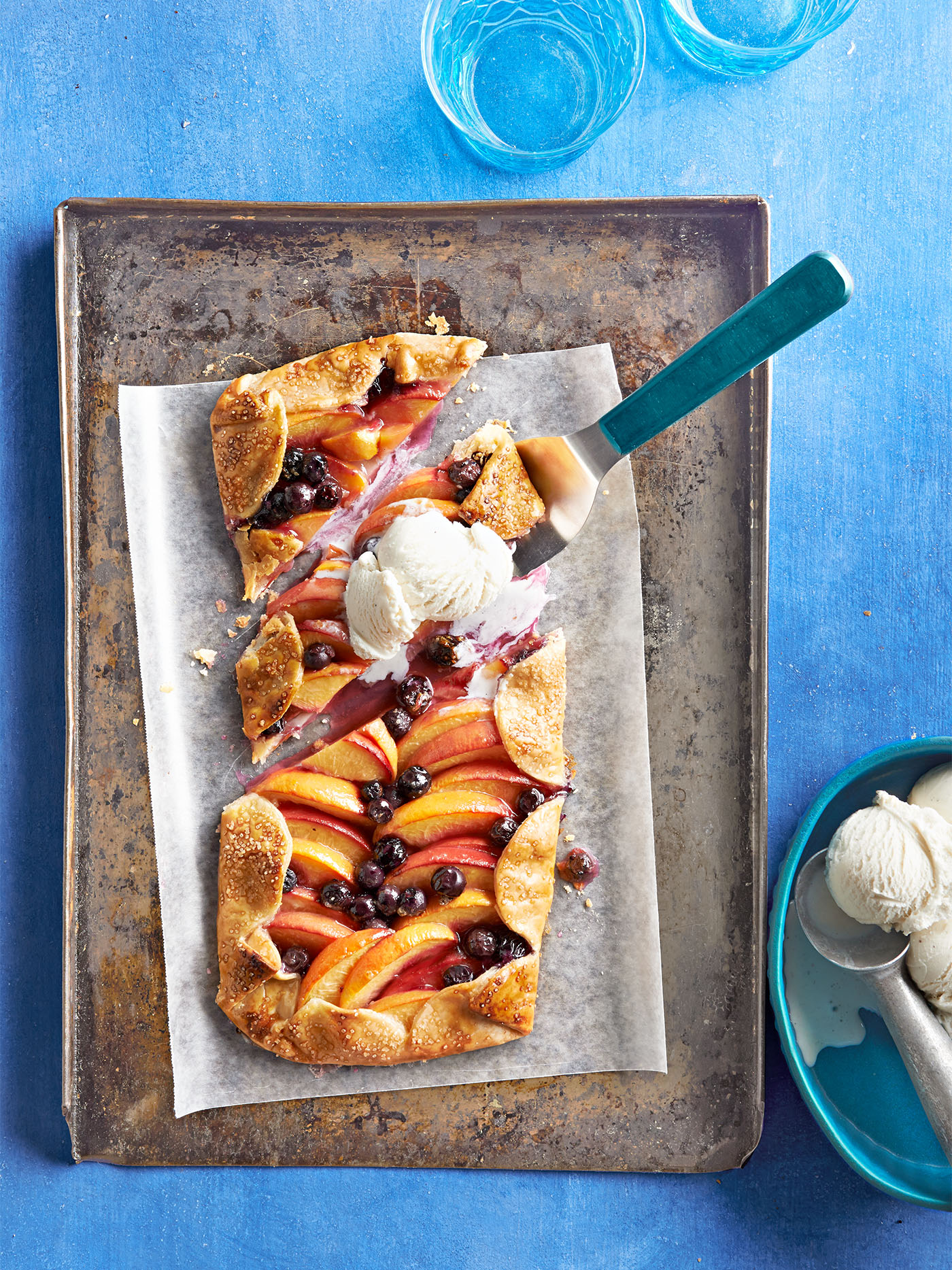 metal baking sheet of Peach and Blueberry Slab Pie