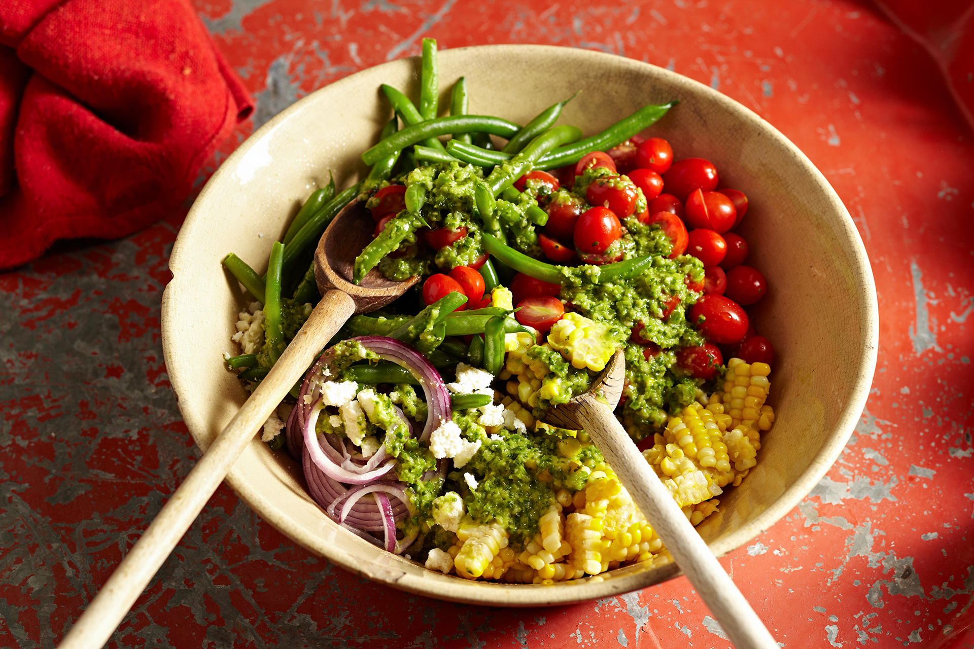 Green Bean, Corn, and Tomato Salad with Jalapeño Vinaigrette