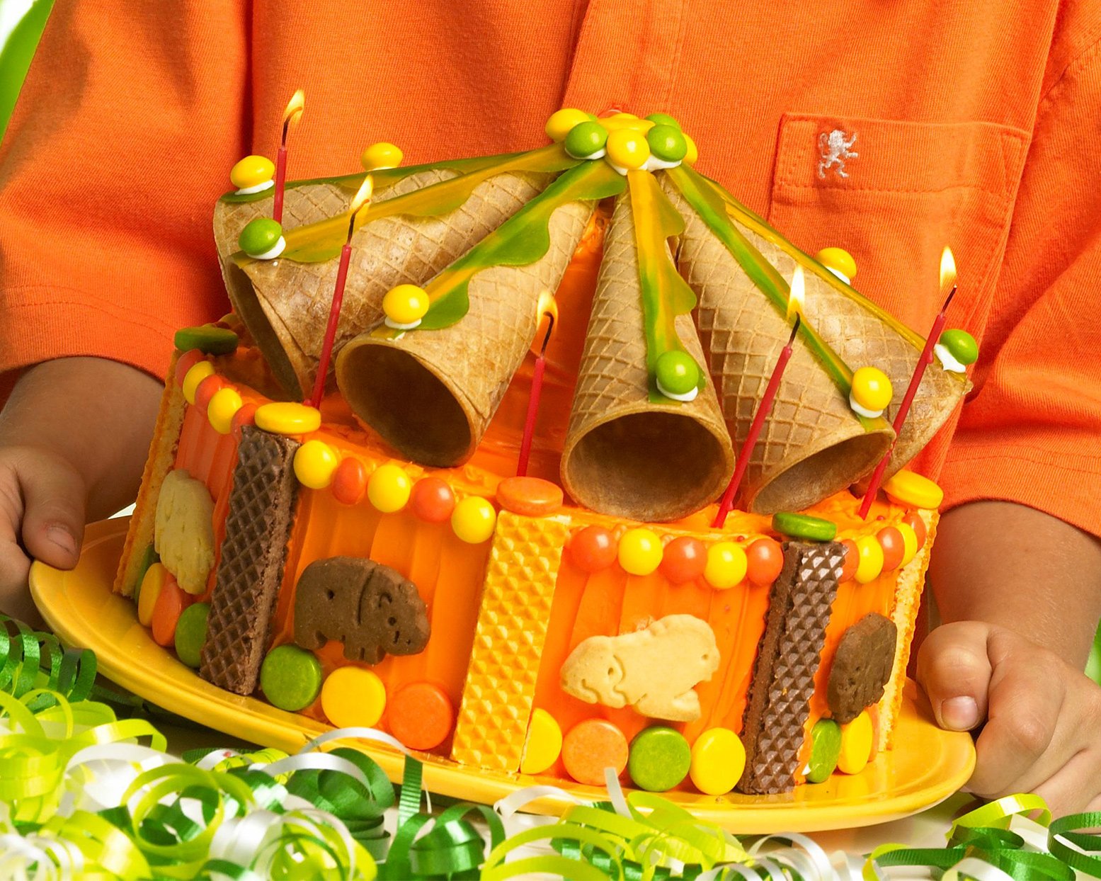 orange and green Circus Cake with animal crackers