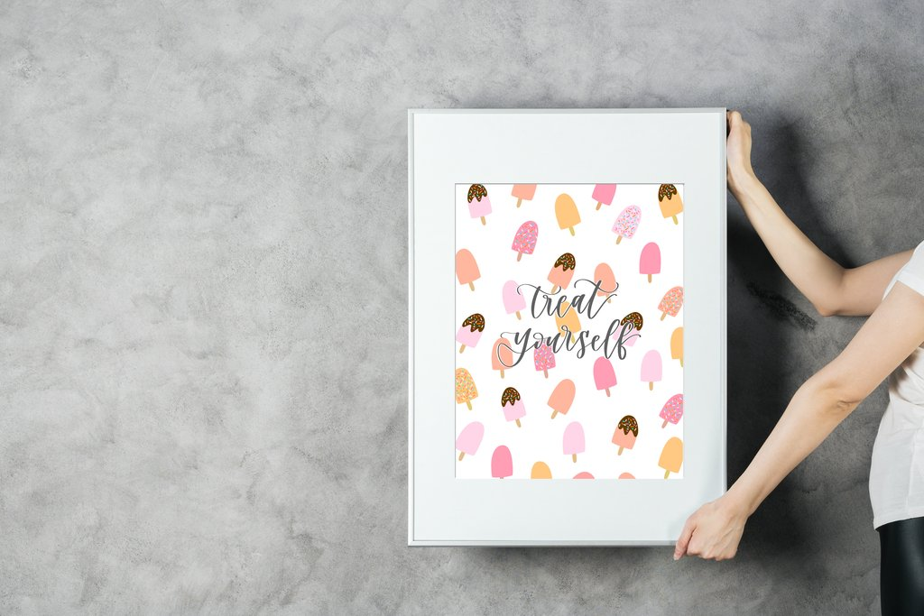 """Framed print with ice cream cones and """"treat yourself"""""""