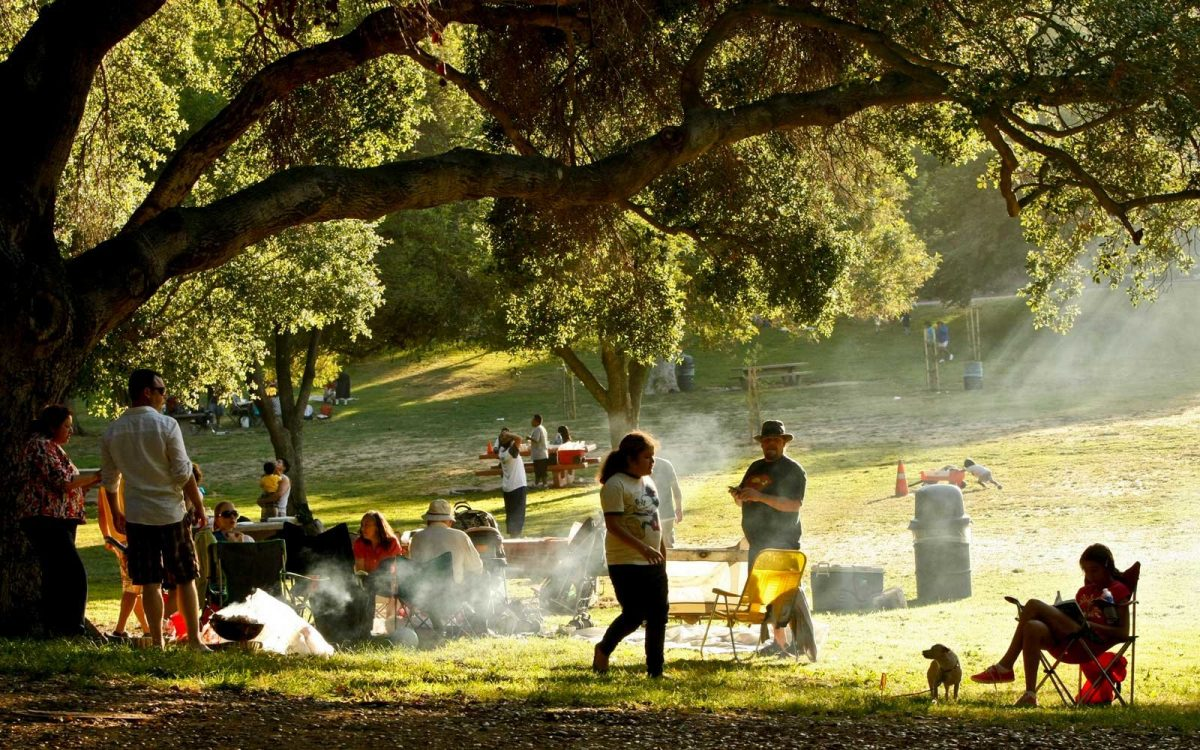 Families picnic in Griffith Park in Los Angeles during the long Memorial Day weekend on May 30
