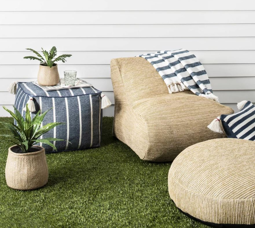 outdoor lounge set with woven seating