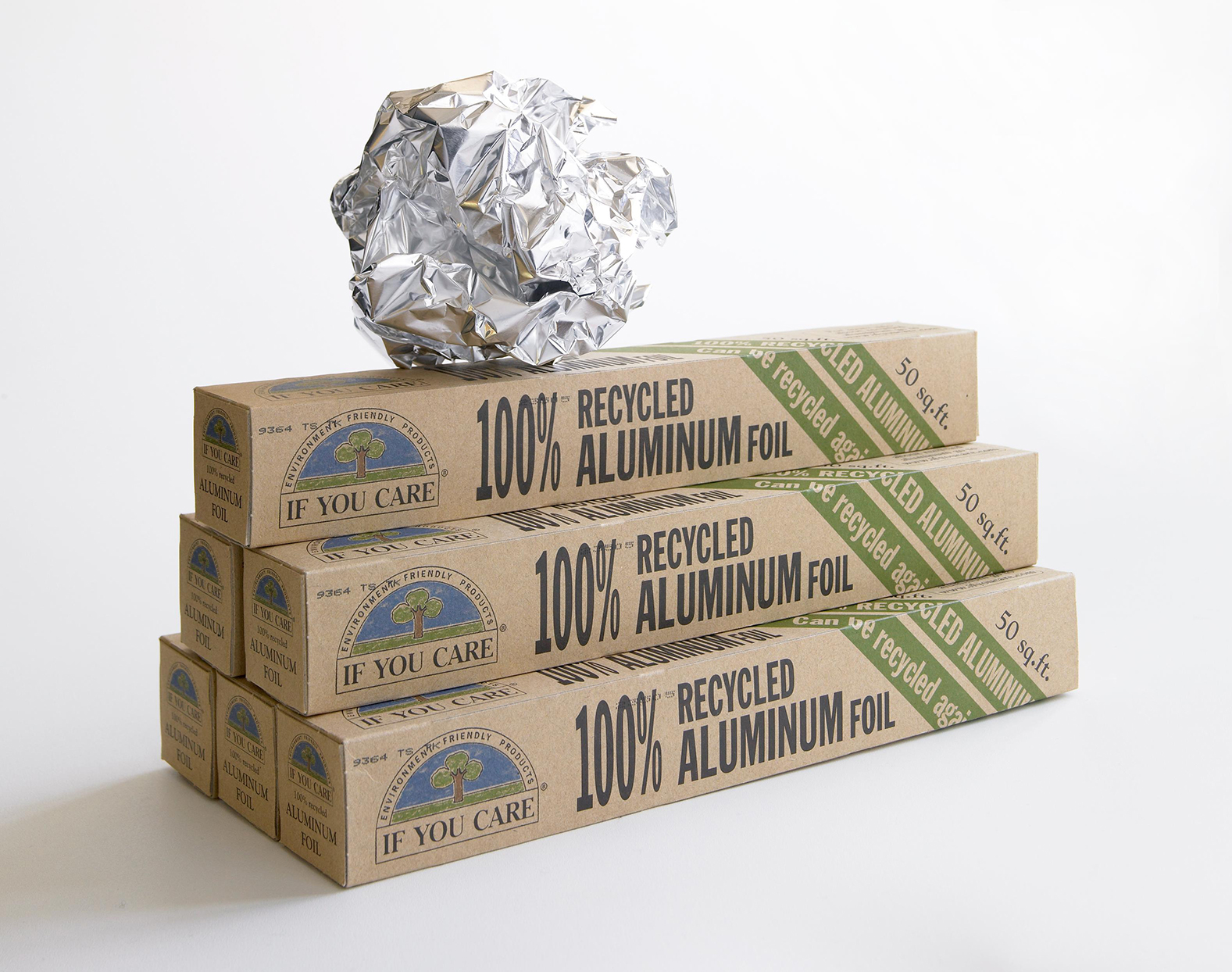 packages of recycled aluminum foil for makeshift grill brush