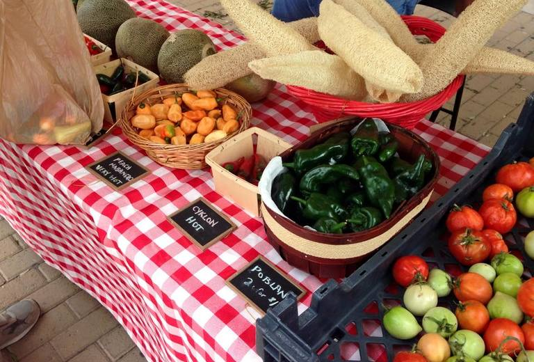 table with fresh produce