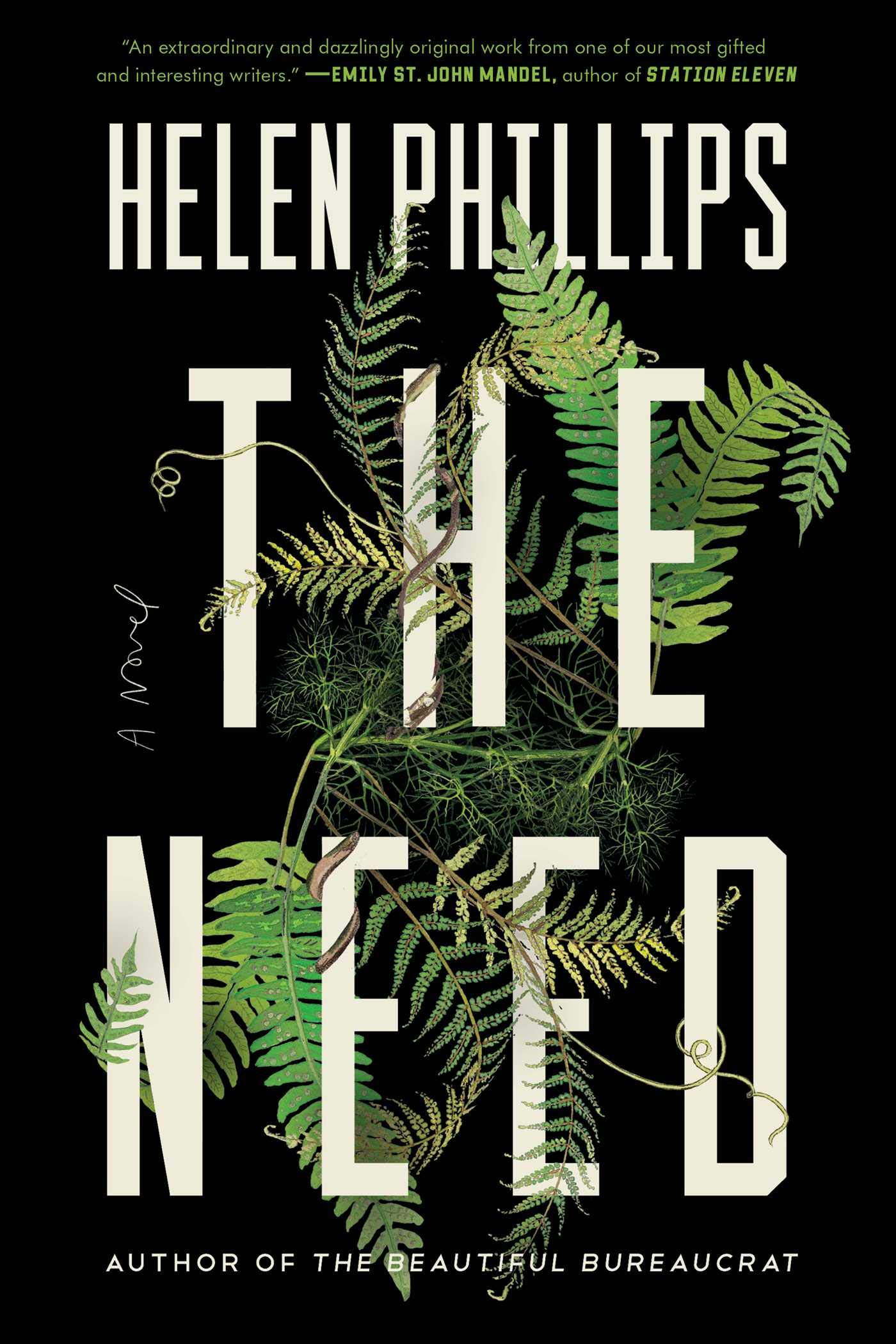 Black book cover with green leaves and white text