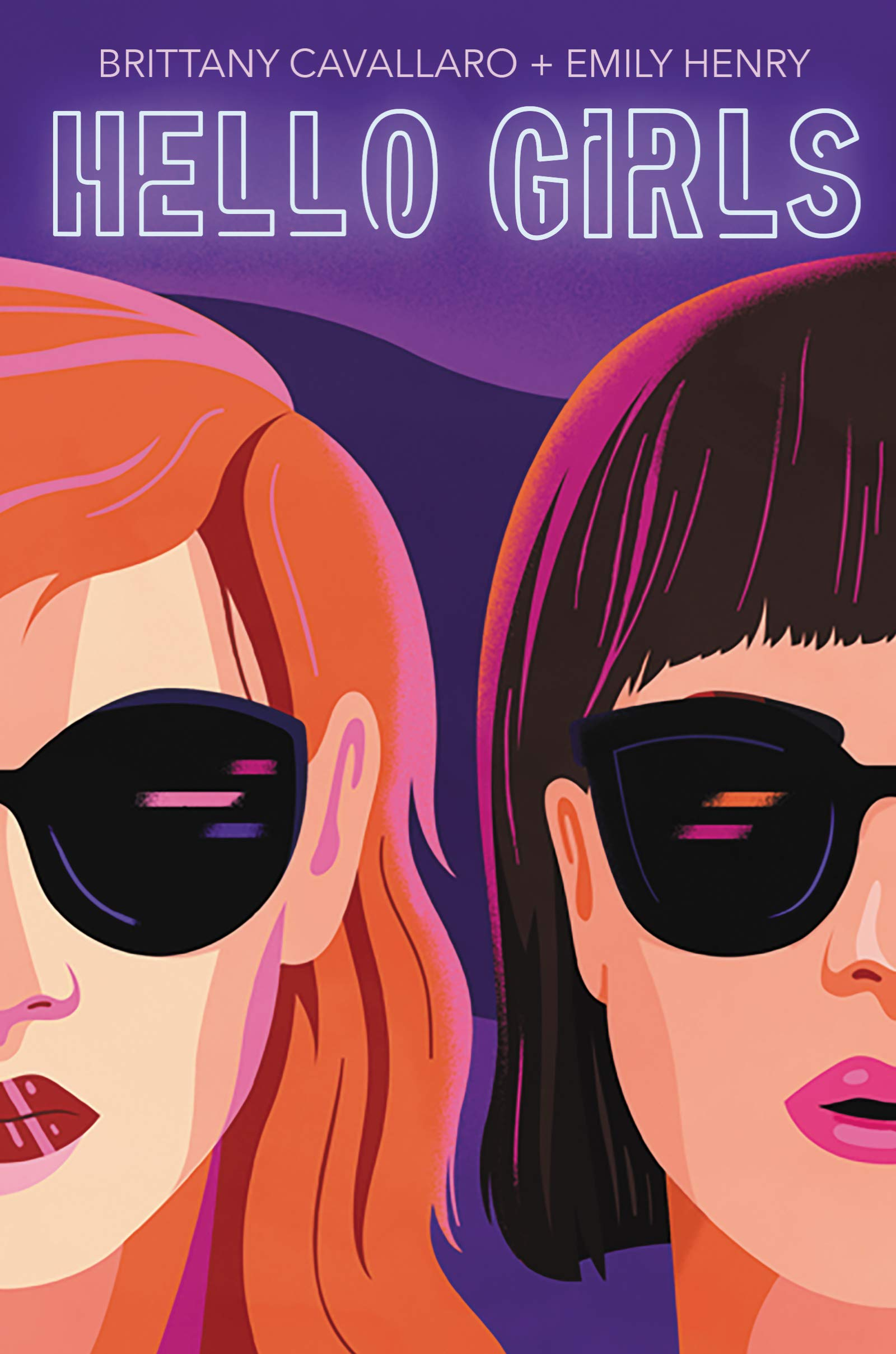 Book cover with the words 'hello girls' and an illustration of two women wearing sunglasses