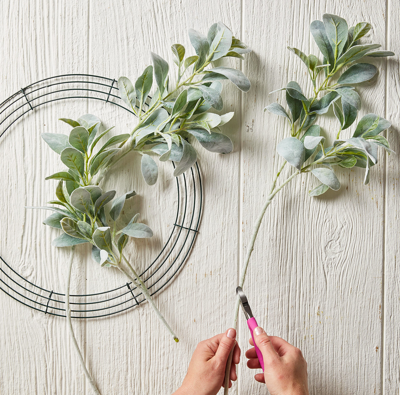 clipping ends off branches for wire wreath