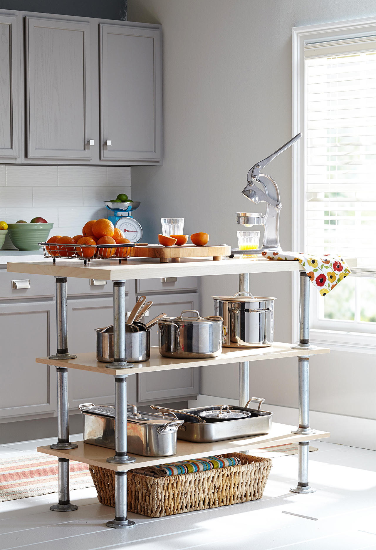small industrial kitchen island for tools and pots