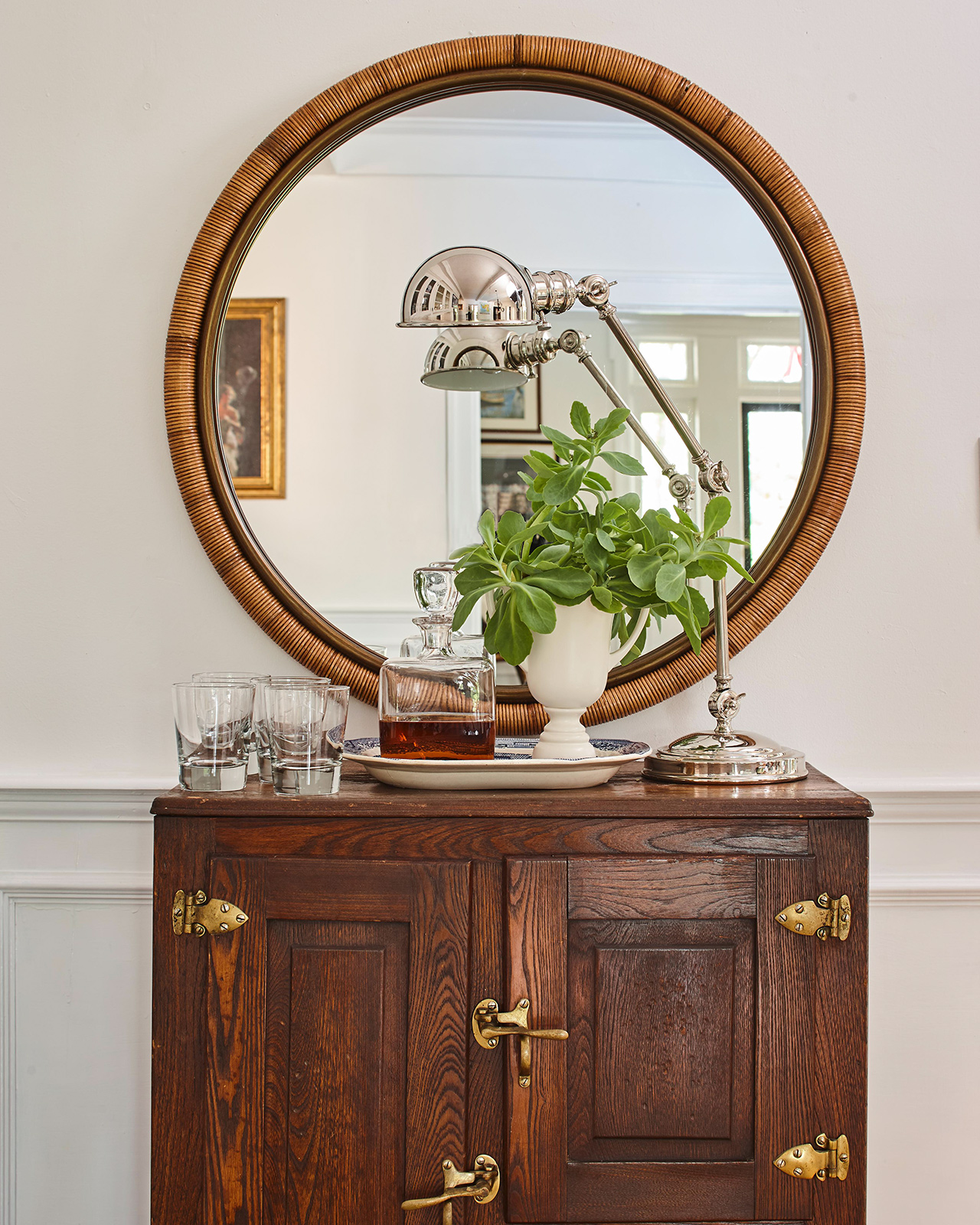 living room liquor cabinet round mirror with lamp