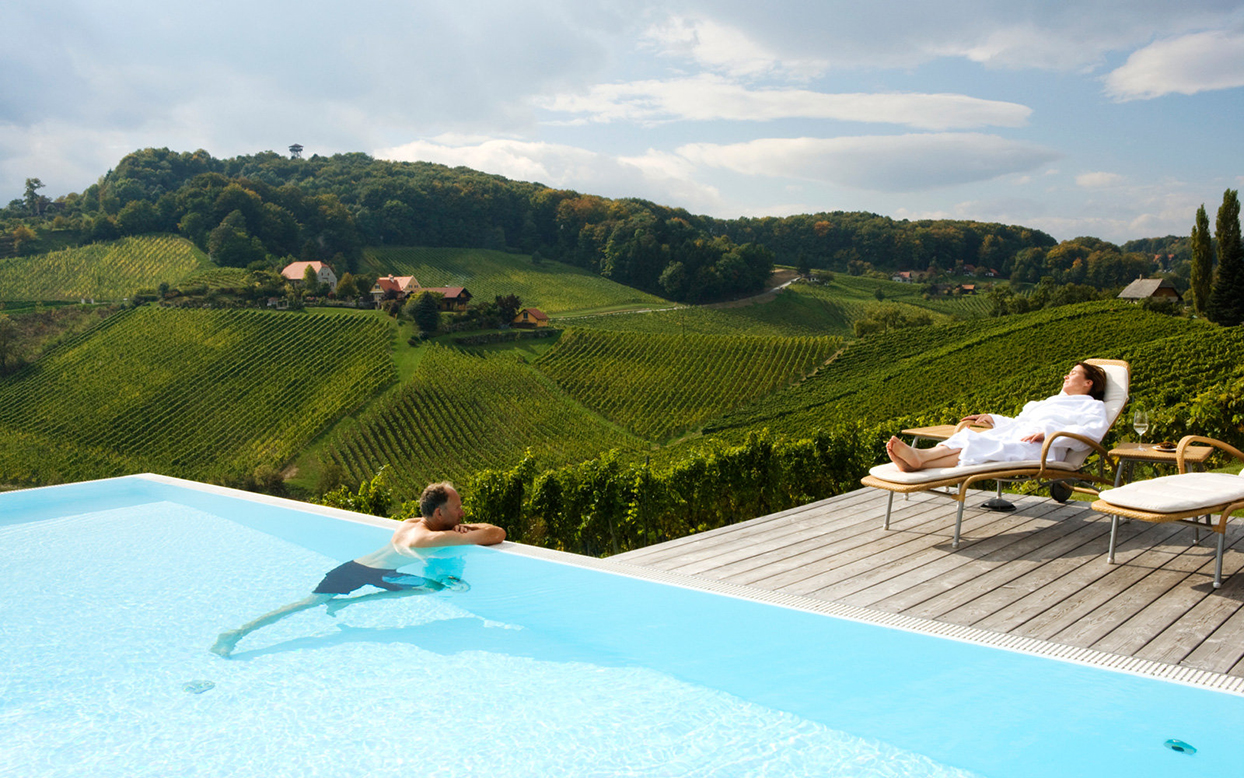pool overlooking beautiful hillside