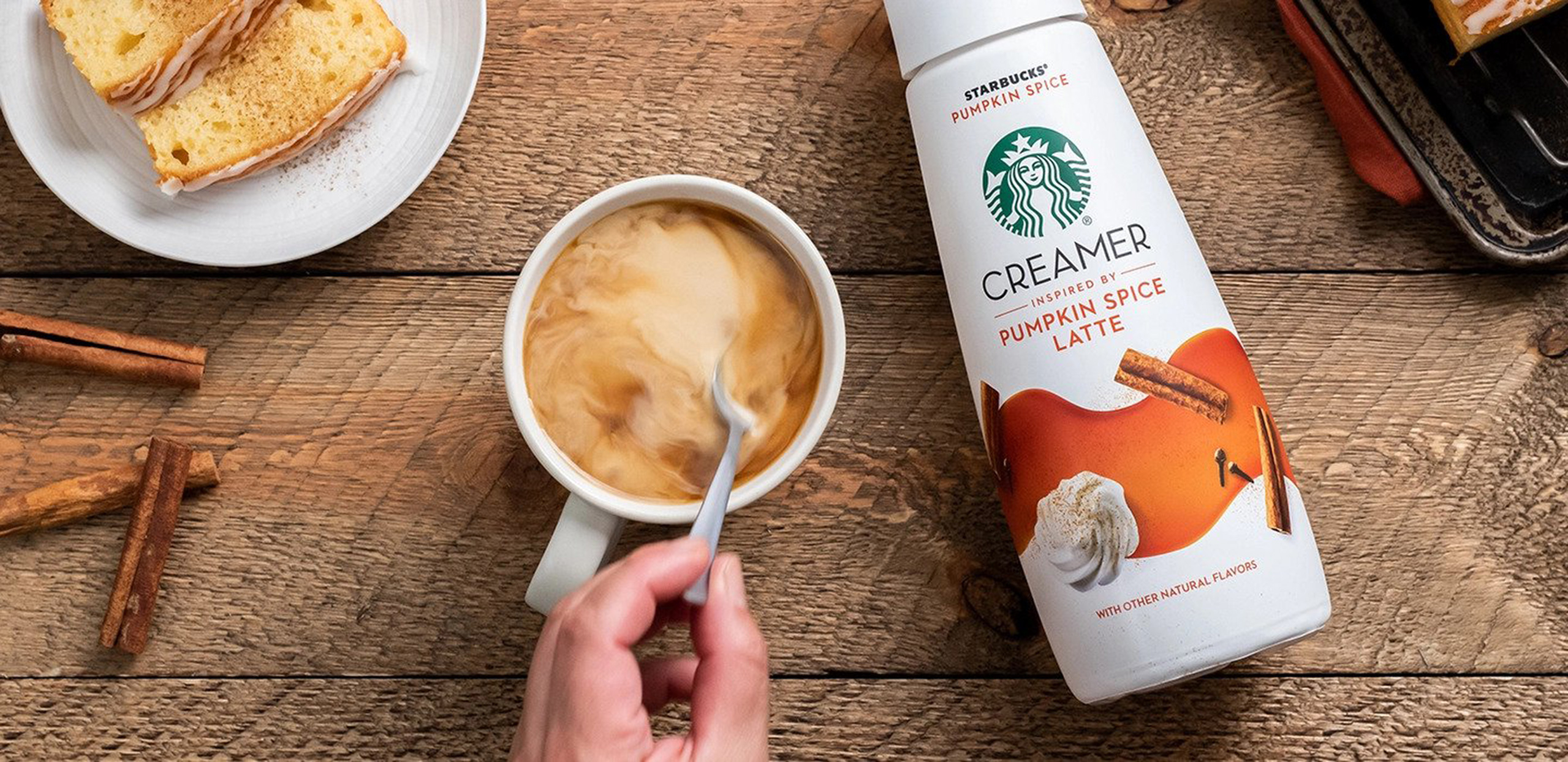 Pumpkin Spice Latte creamer with coffee cup