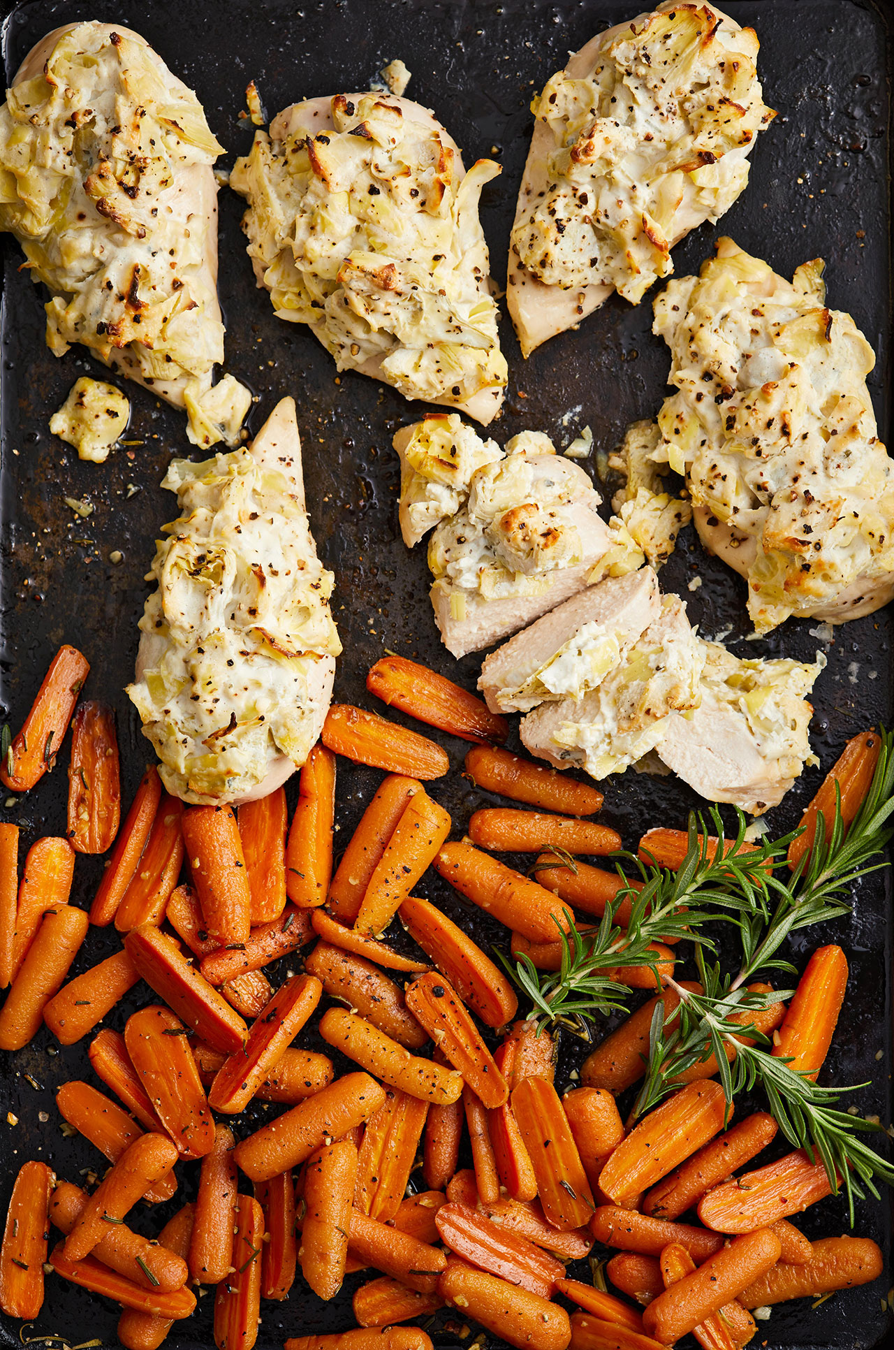 Artichoke and Cheese Chicken Breasts with Rosemary Carrots