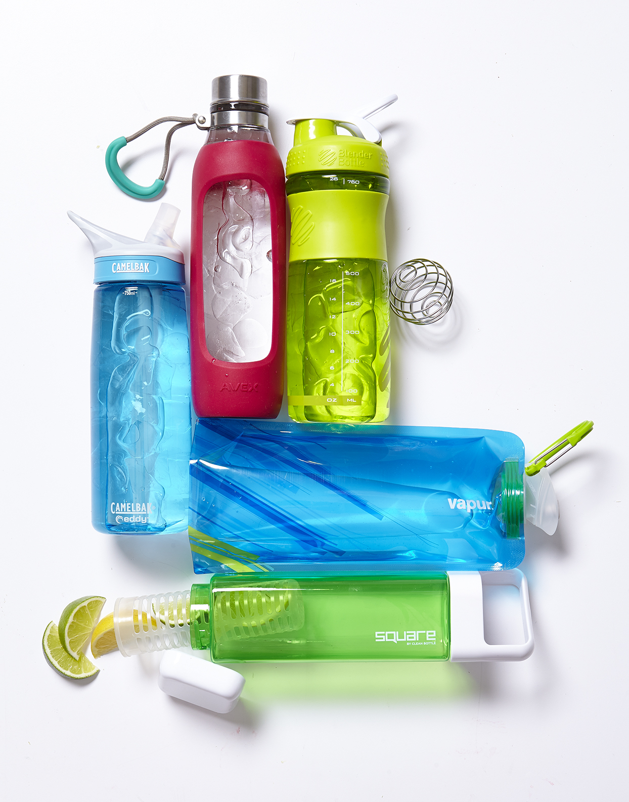 red, green, and blue water bottles