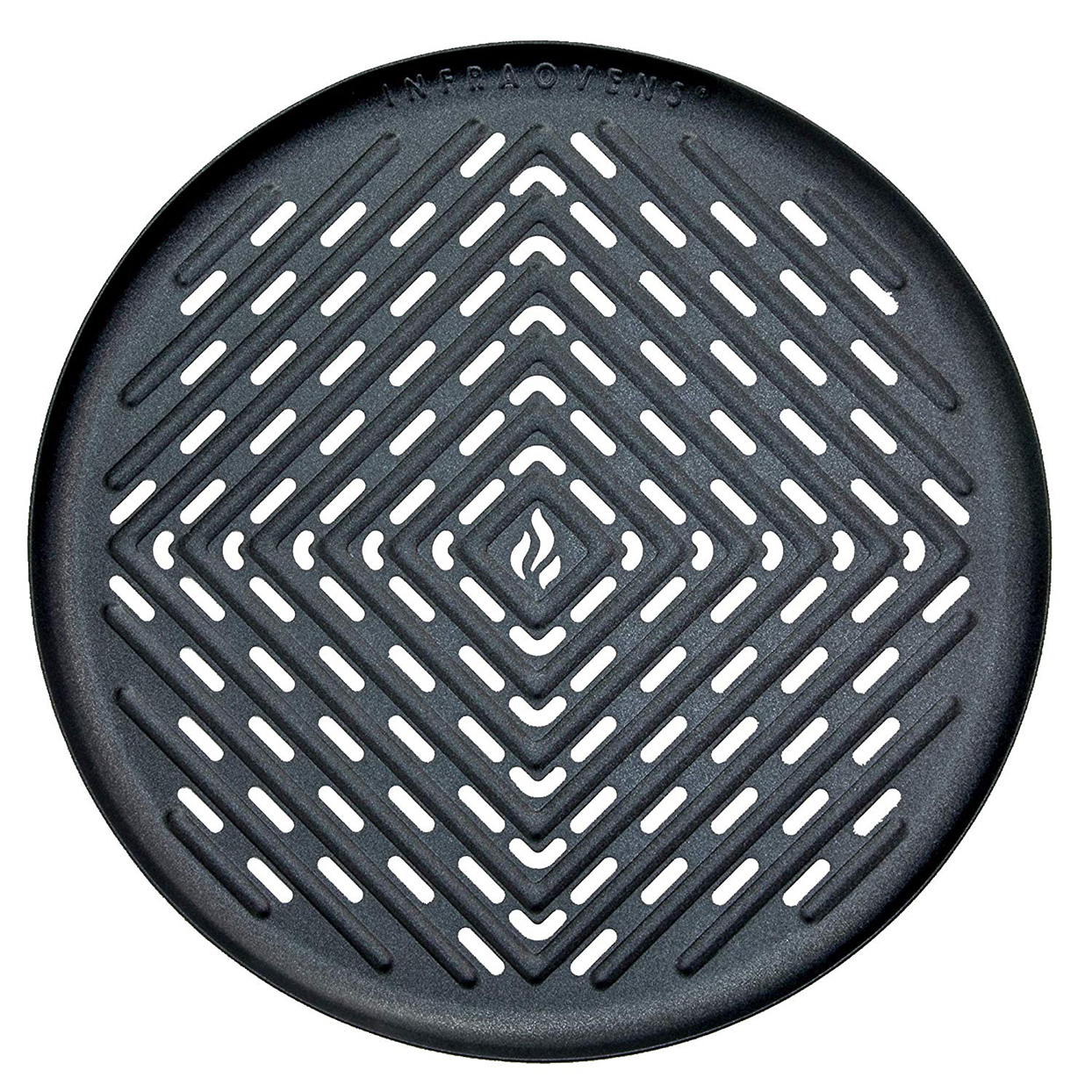 Black air fryer grill pan on white background