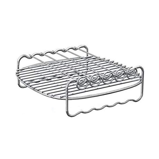 Wire air fryer cooking rack on white background