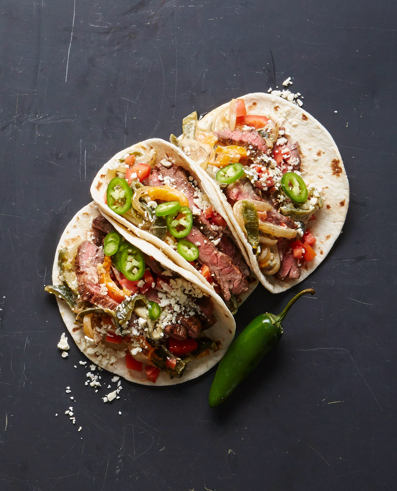 Skirt Steak Tacos with Rajas (Creamy Poblanos and Onions)
