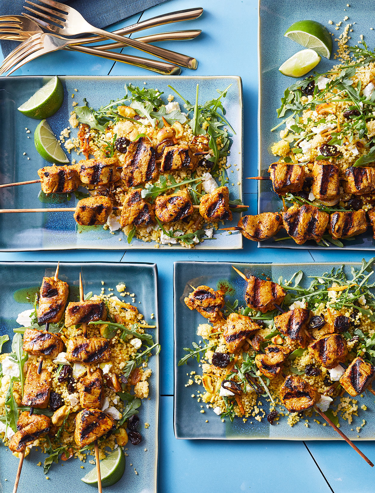 Pork Skewers with Couscous Salad