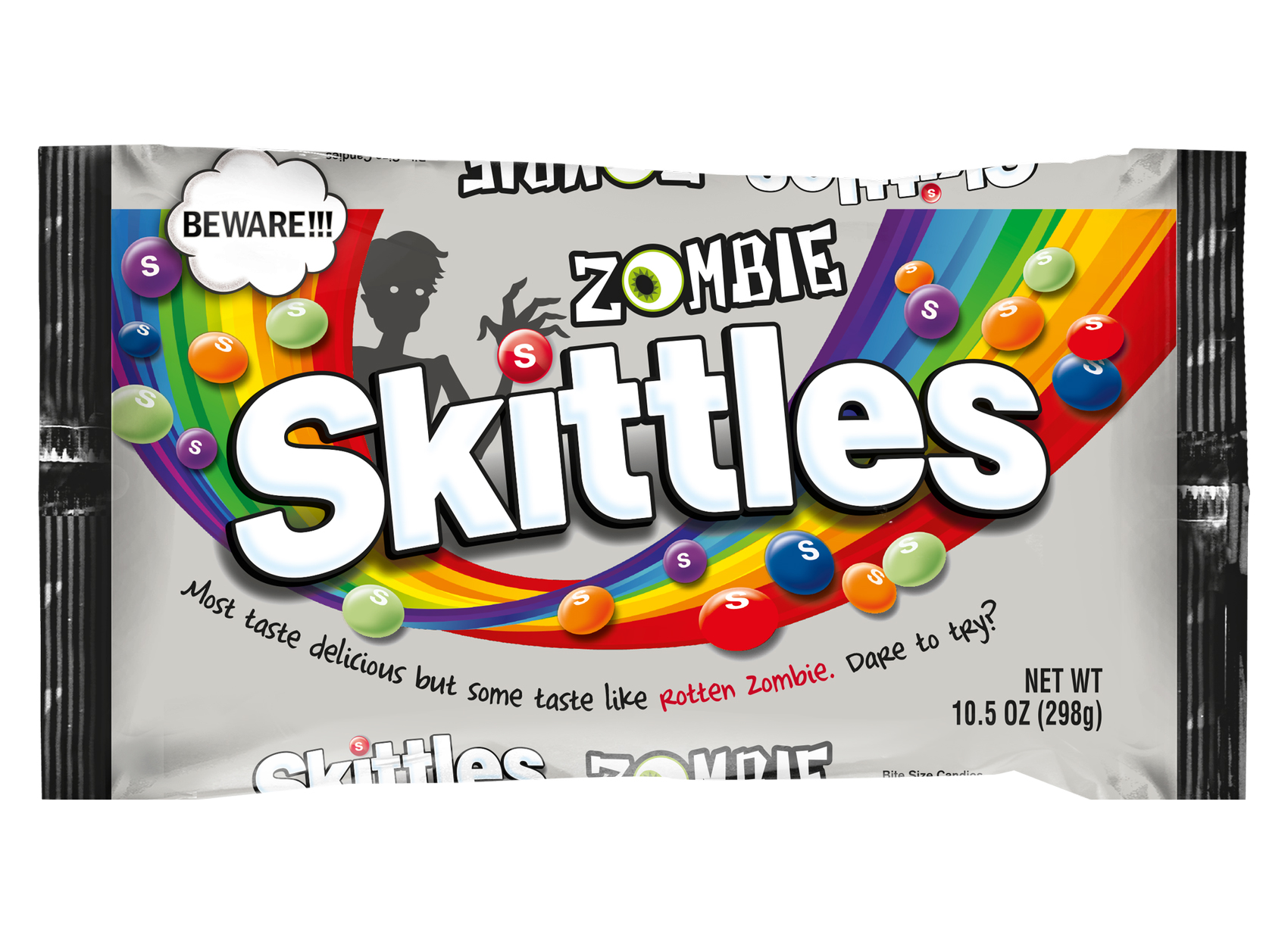 Bag of Zombie Skittles on white background