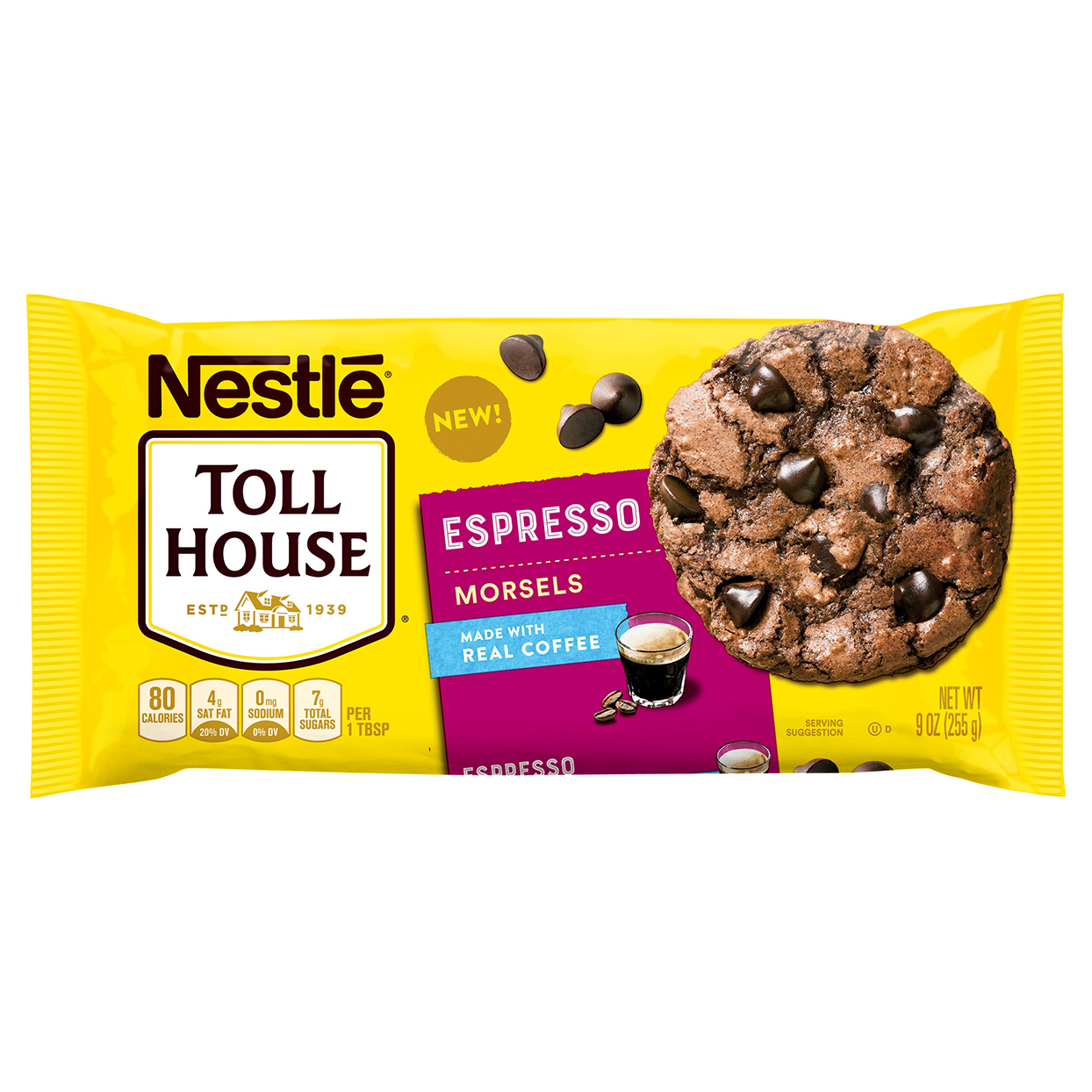 Bag of Nestle Espresso Morsels on white background