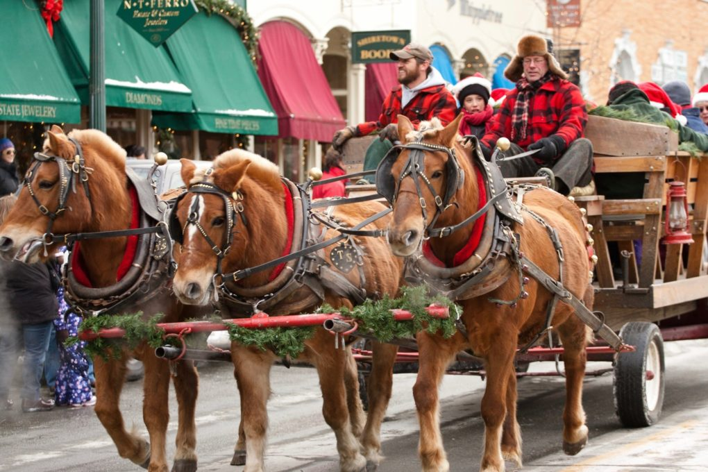 Horses drawing a sleigh through a snowy town in Woodstock Vermont