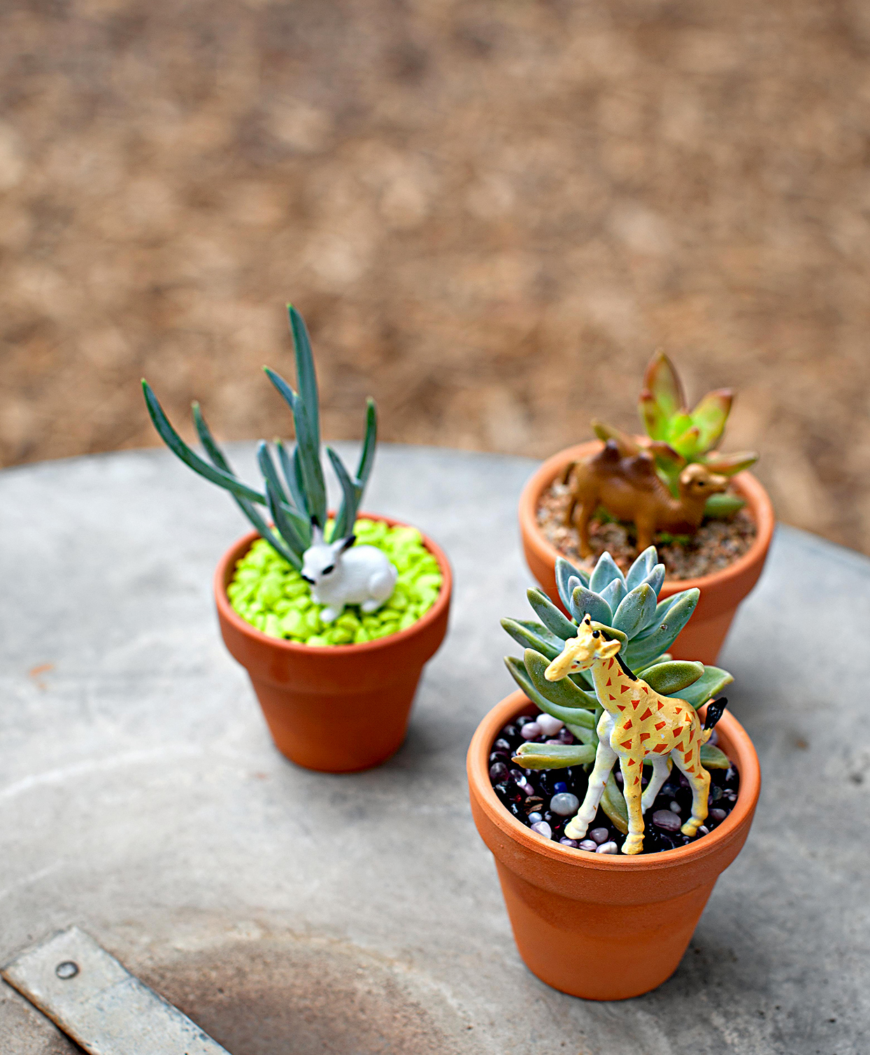Plastic toys placed in planters