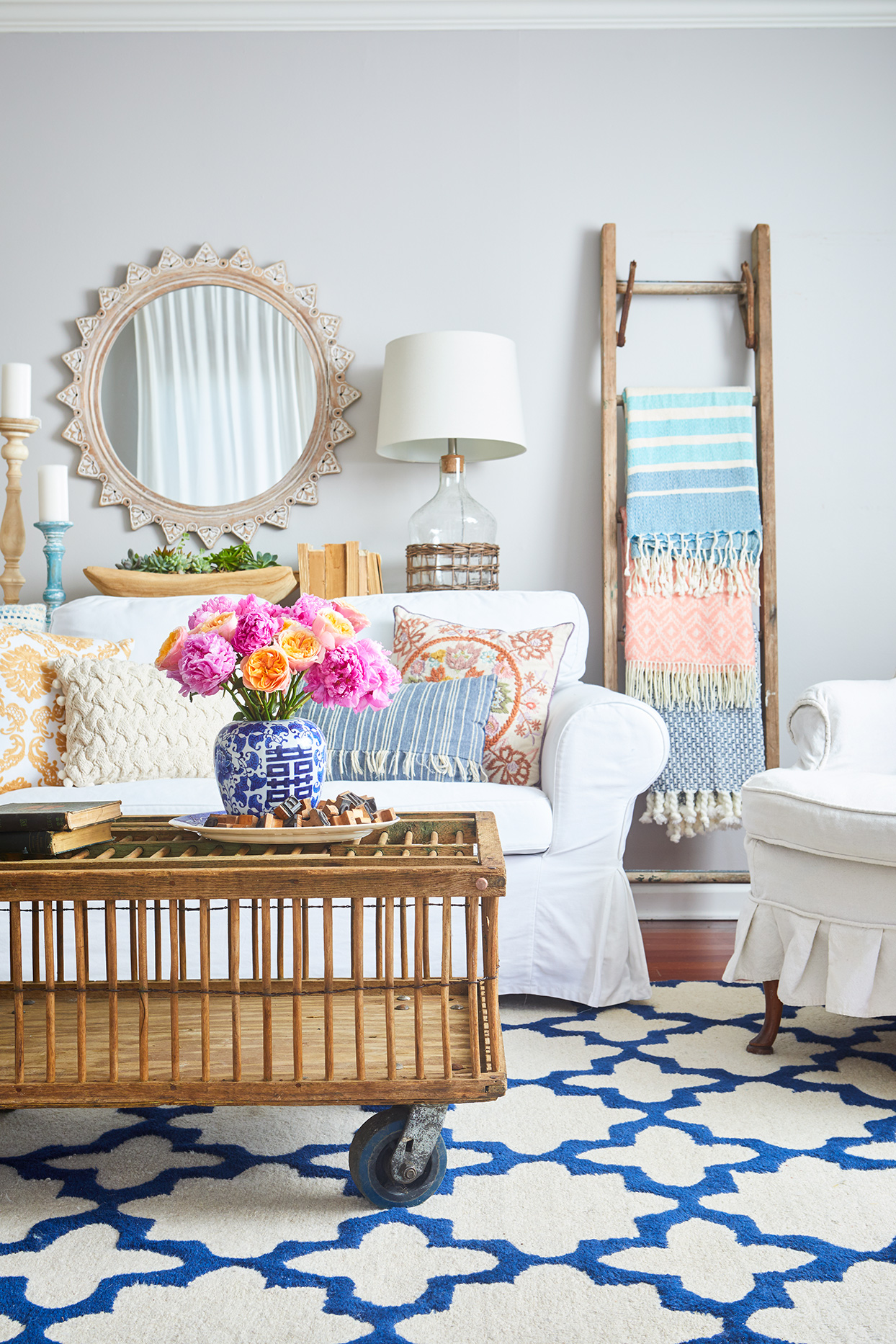 farmhouse style room bright pillows and accents