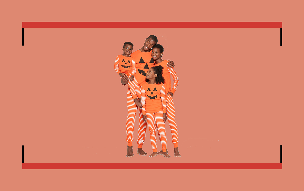 family in pumpkin pajamas