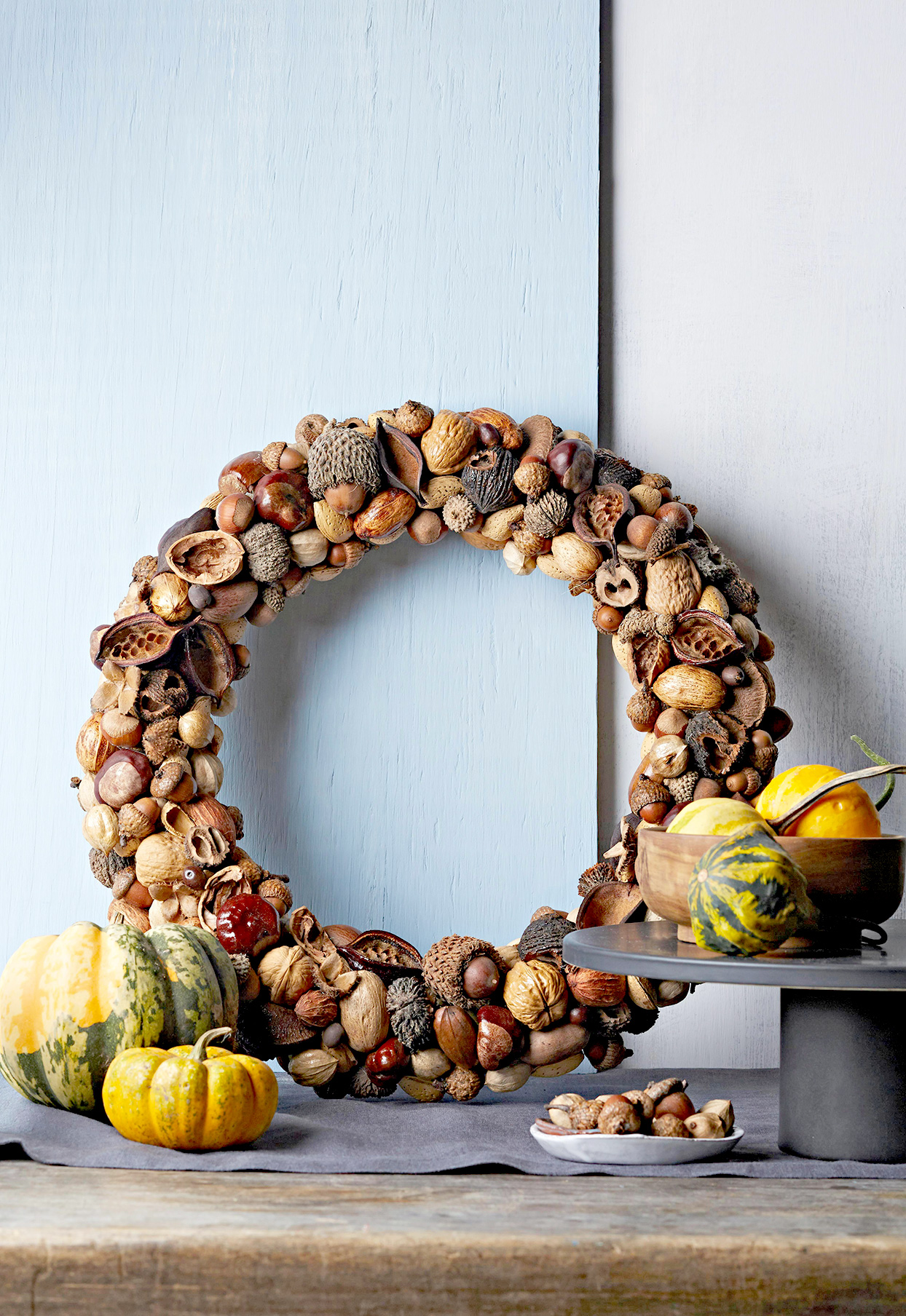 Wreath of nut shells with pumpkins