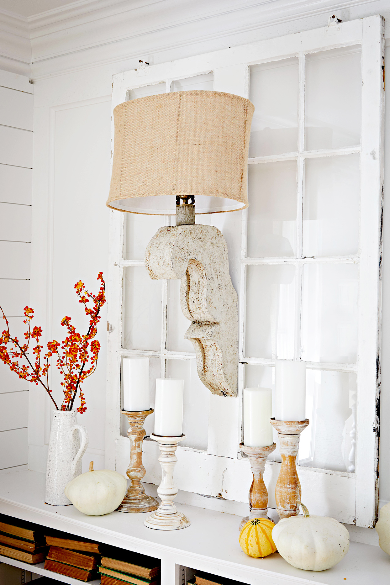 Window decoration with lamp, candles