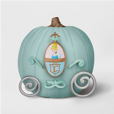 painted blue pumpkin decorated to look like cinderella's carriage from target's halloween line