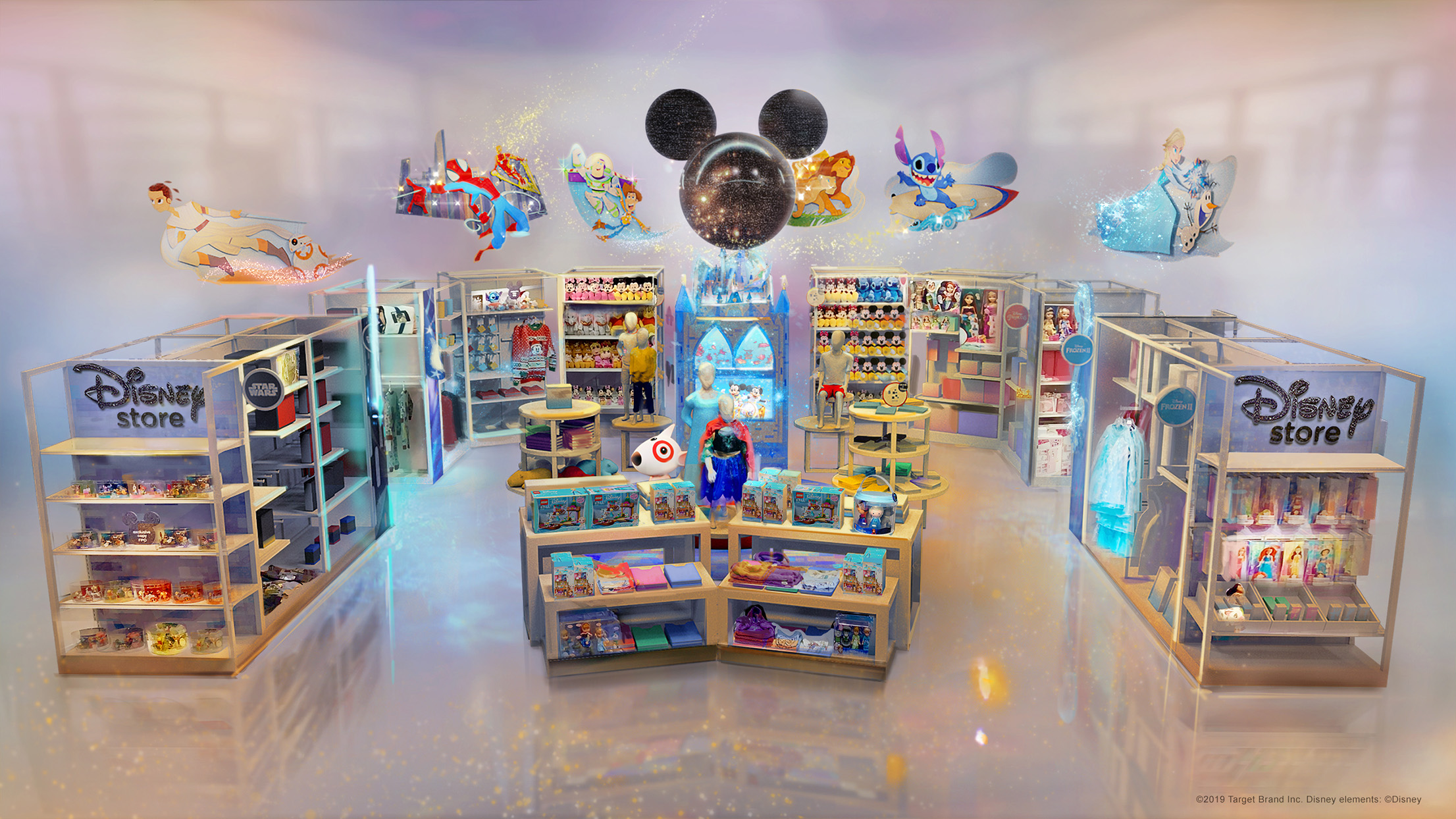Disney store at Target display with multiple shelving units of toys, costumes, games, and clothes