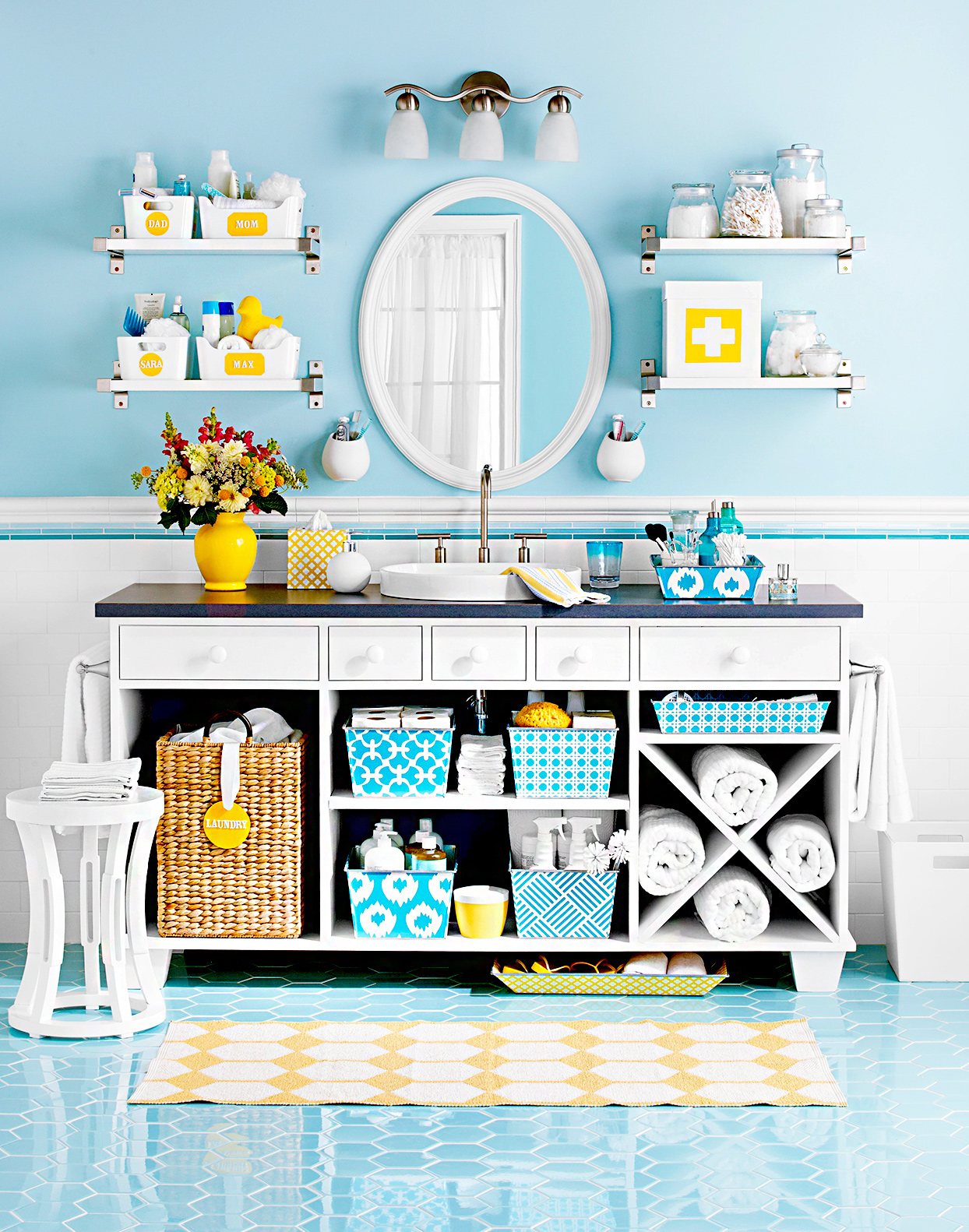 Yellow and blue bathroom with cupboard storage