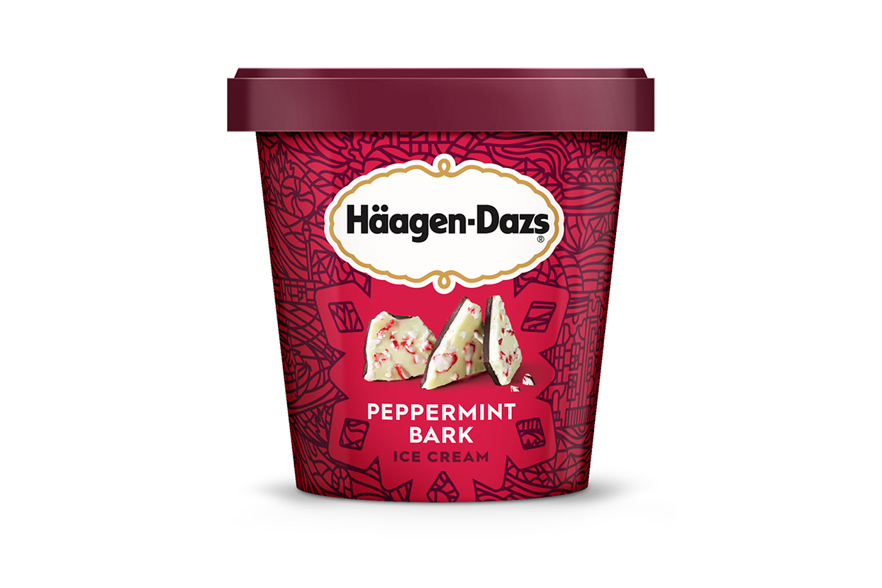 peppermint ice cream, red pint