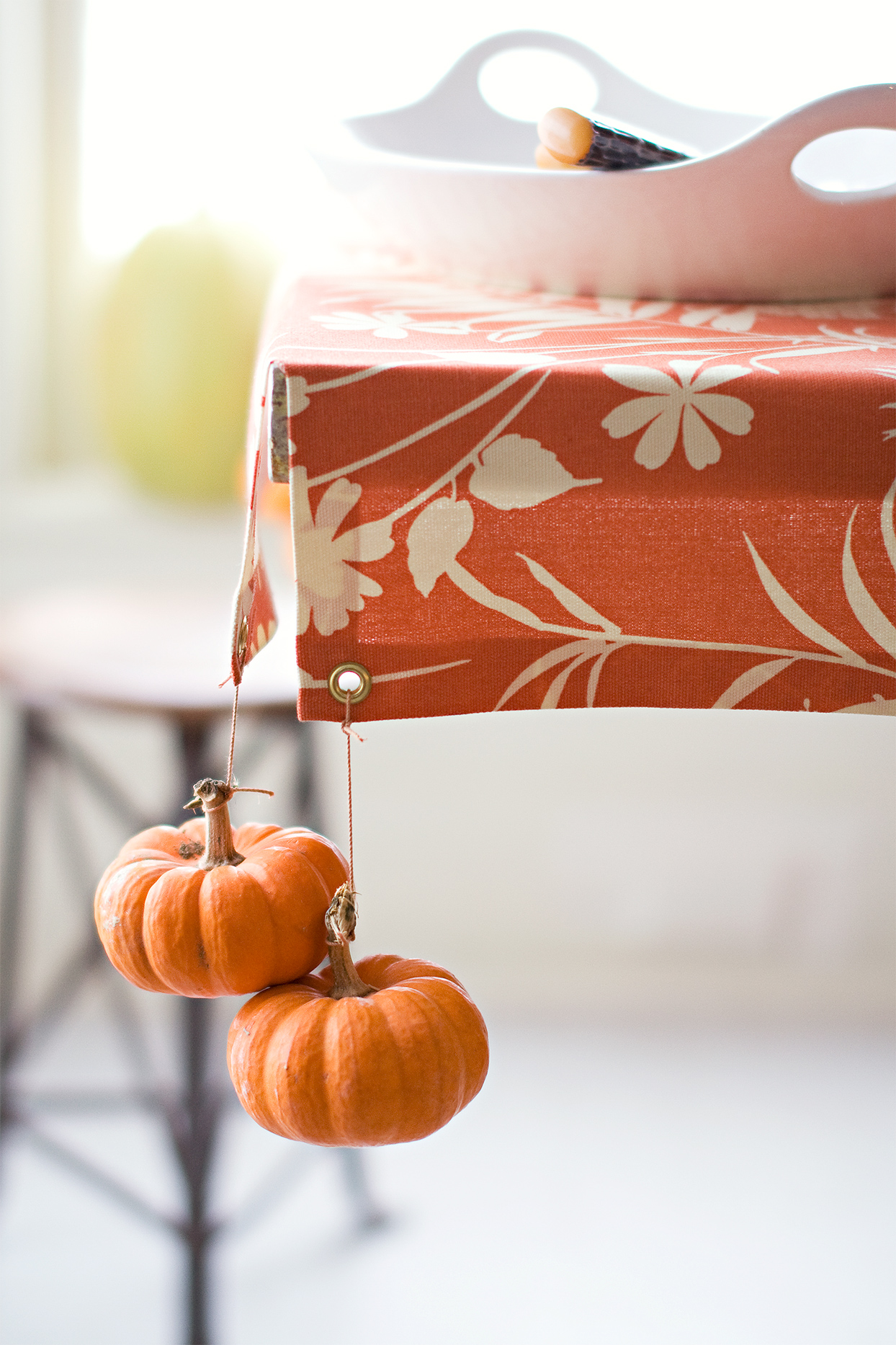small pumpkins attatched as tablecloth weights