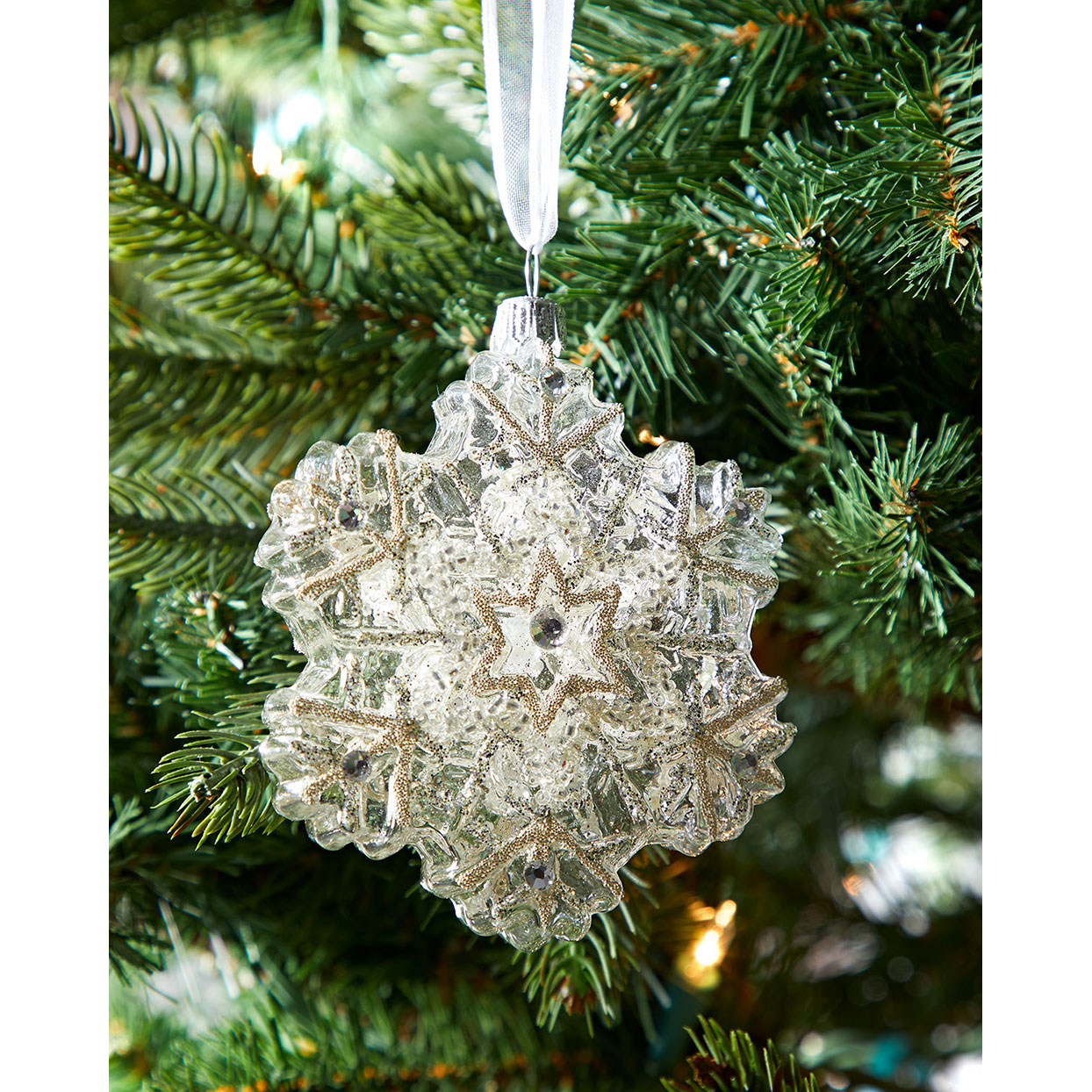 Neiman Marcus Clear Snowflake Christmas Ornament
