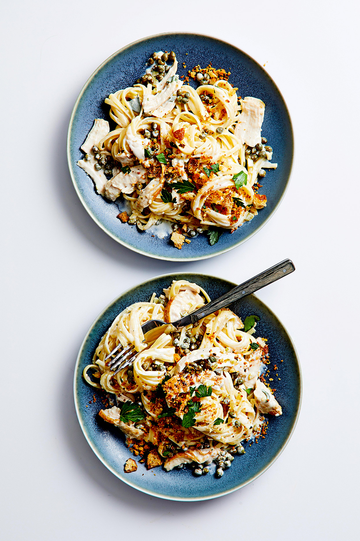 Creamy Pasta with Turkey and Crispy Crumbs