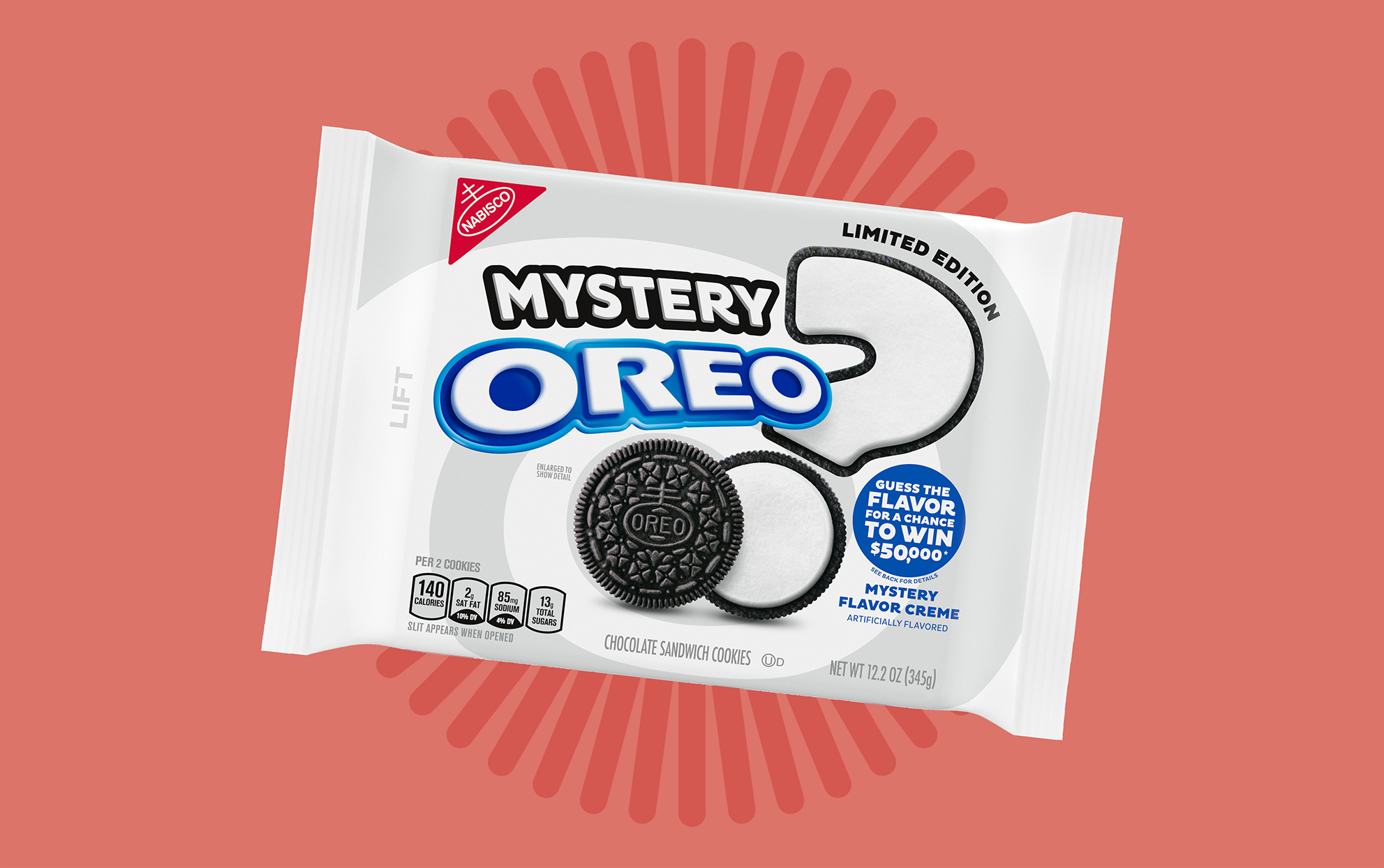 Mystery Oreo package on pink background